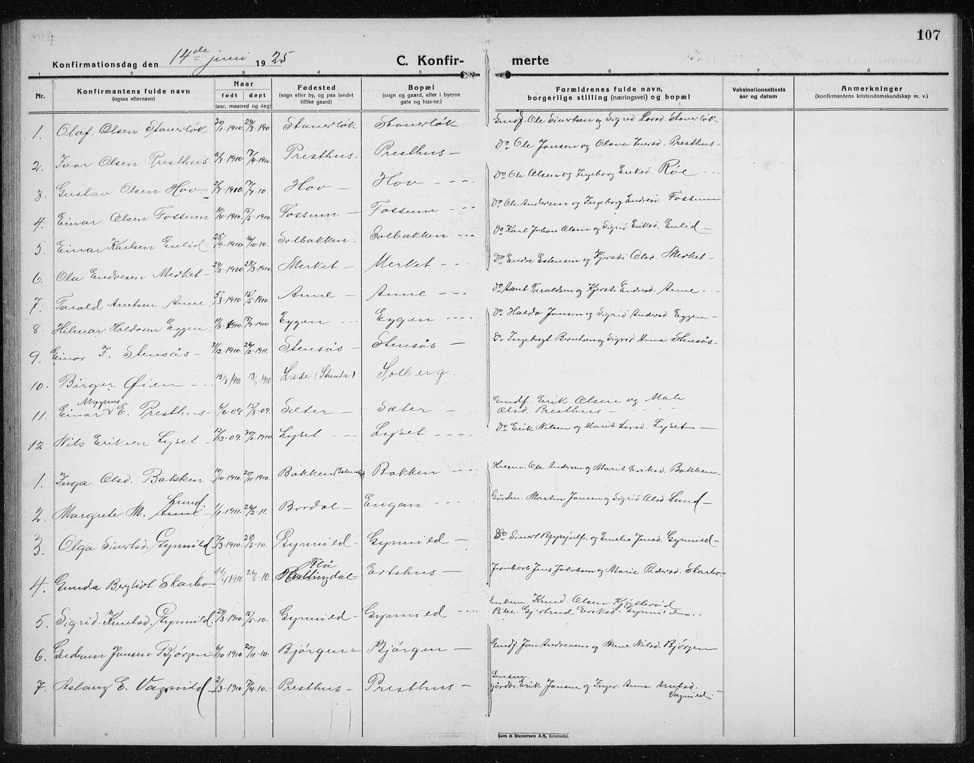 SAT, Ministerialprotokoller, klokkerbøker og fødselsregistre - Sør-Trøndelag, 689/L1045: Klokkerbok nr. 689C04, 1923-1940, s. 107