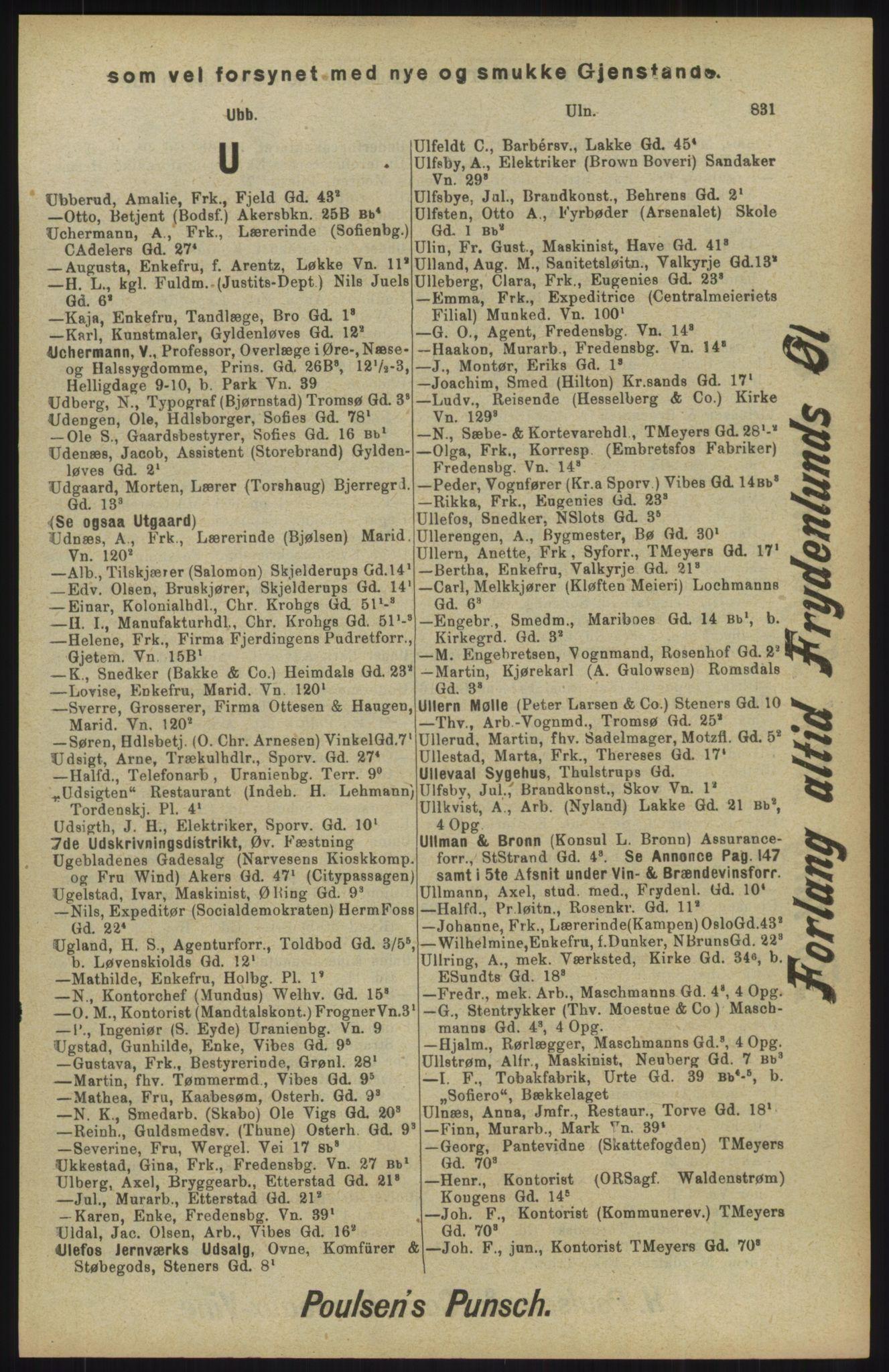 RA, Kristiania adressebok (publikasjon)*, 1904, s. 831