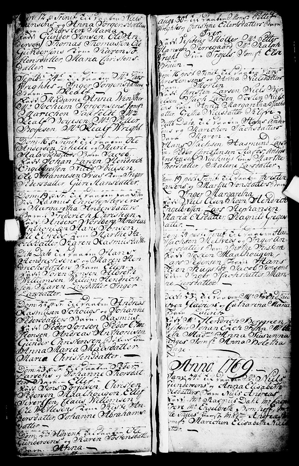 SAKO, Porsgrunn kirkebøker , G/Ga/L0001: Klokkerbok nr. I 1, 1766-1790, s. 8-9