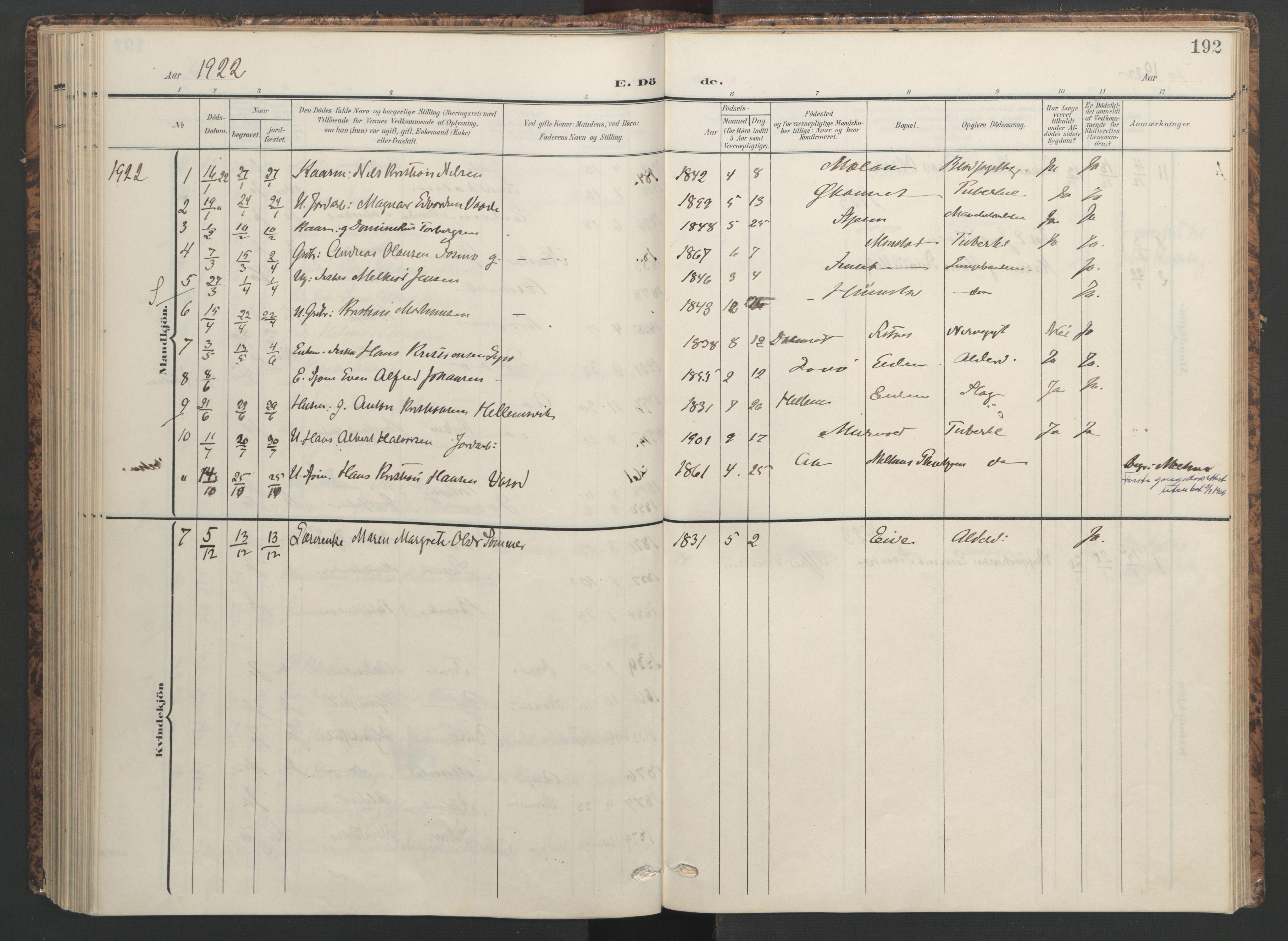SAT, Ministerialprotokoller, klokkerbøker og fødselsregistre - Sør-Trøndelag, 655/L0682: Ministerialbok nr. 655A11, 1908-1922, s. 192