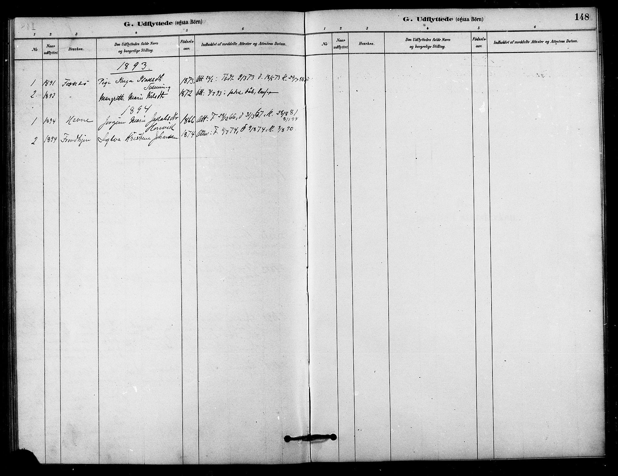 SAT, Ministerialprotokoller, klokkerbøker og fødselsregistre - Sør-Trøndelag, 656/L0692: Ministerialbok nr. 656A01, 1879-1893, s. 148