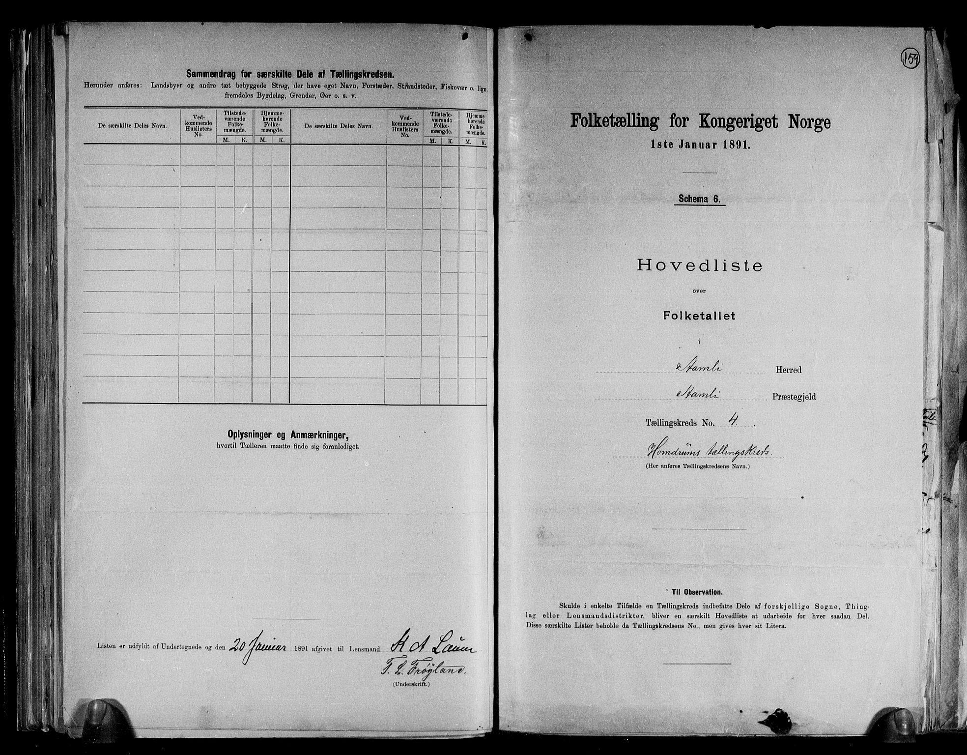 RA, Folketelling 1891 for 0929 Åmli herred, 1891, s. 11