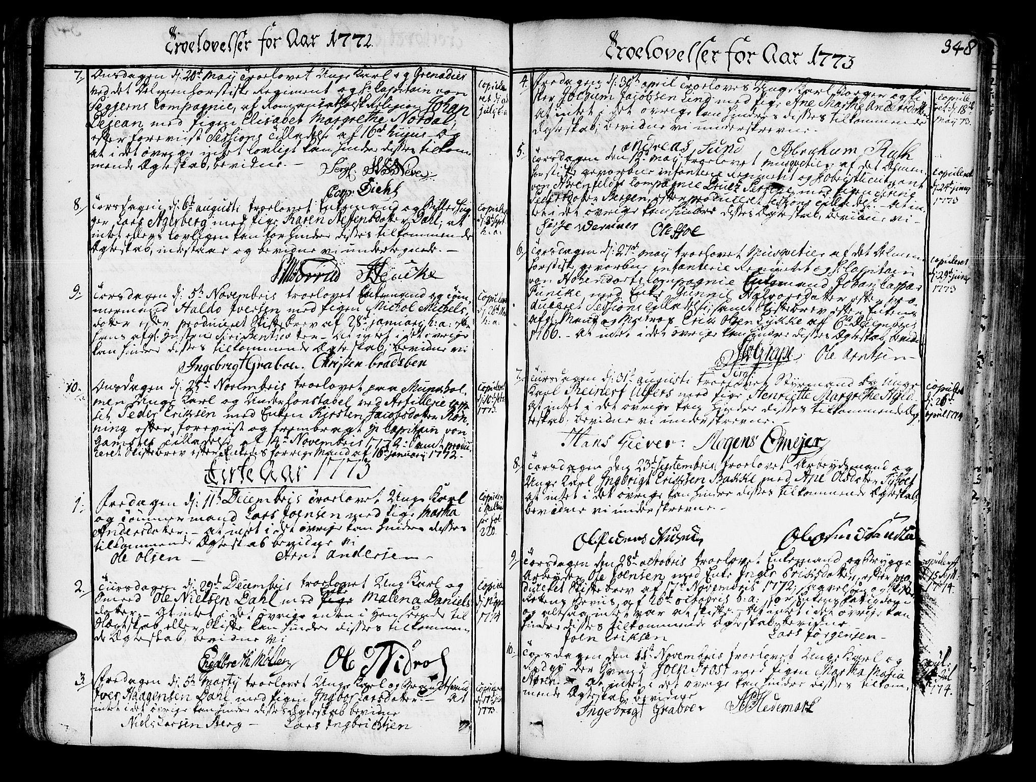 SAT, Ministerialprotokoller, klokkerbøker og fødselsregistre - Sør-Trøndelag, 602/L0103: Ministerialbok nr. 602A01, 1732-1774, s. 348