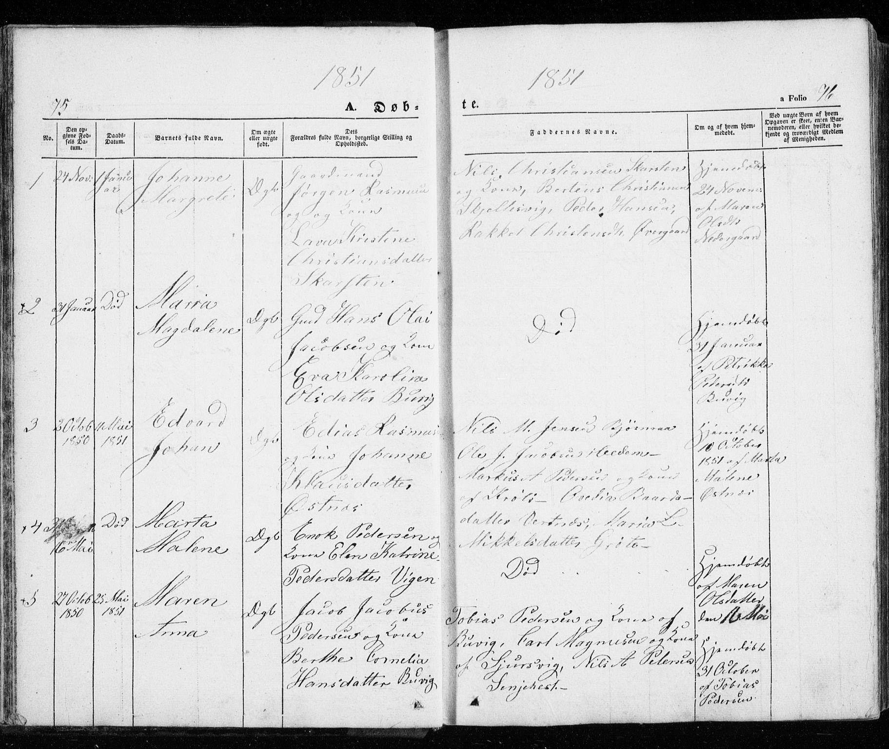 SATØ, Trondenes sokneprestkontor, H/Ha/L0010kirke: Ministerialbok nr. 10, 1840-1865, s. 75-76