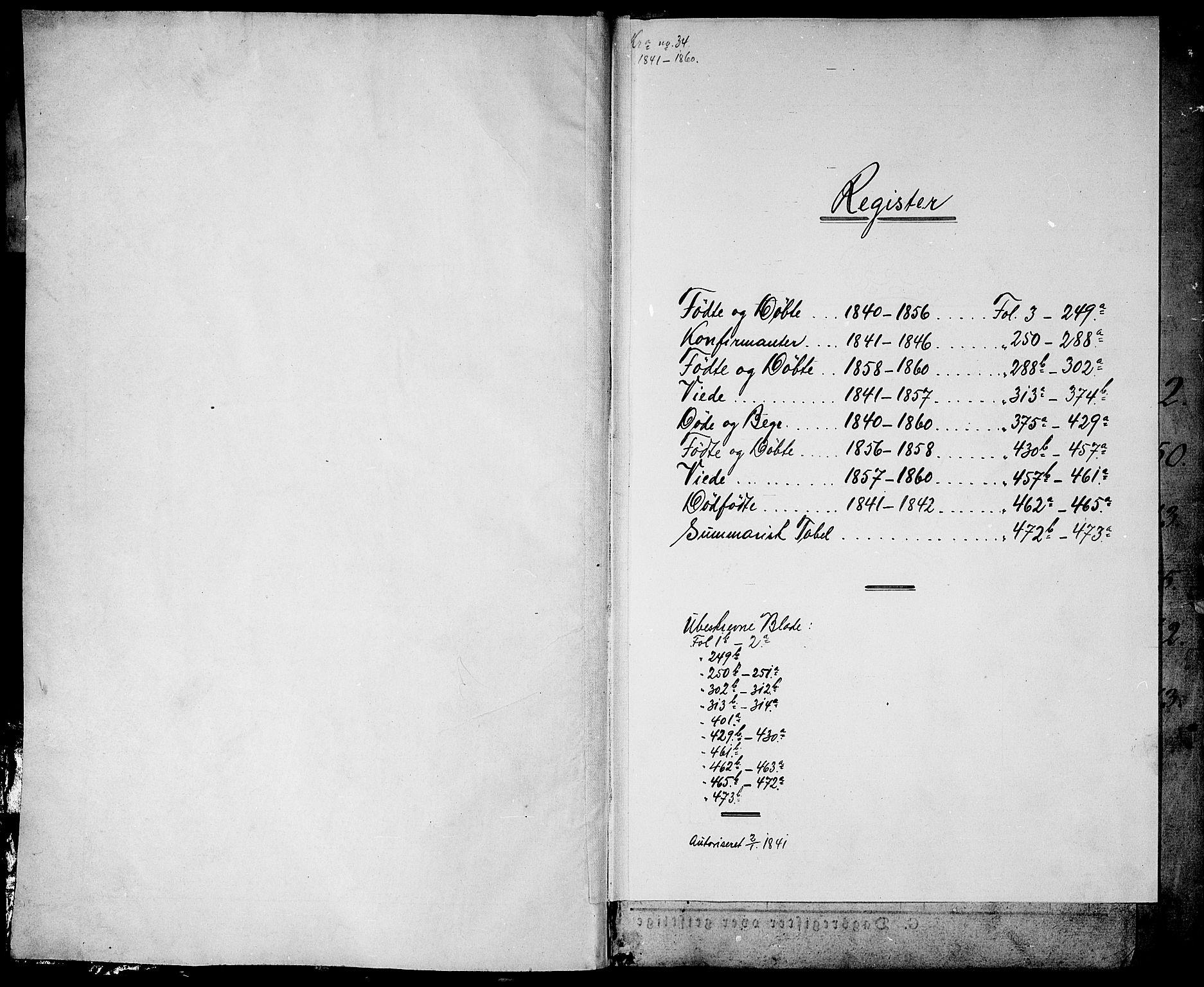 SAO, Garnisonsmenigheten Kirkebøker, G/Ga/L0005: Klokkerbok nr. 5, 1841-1860
