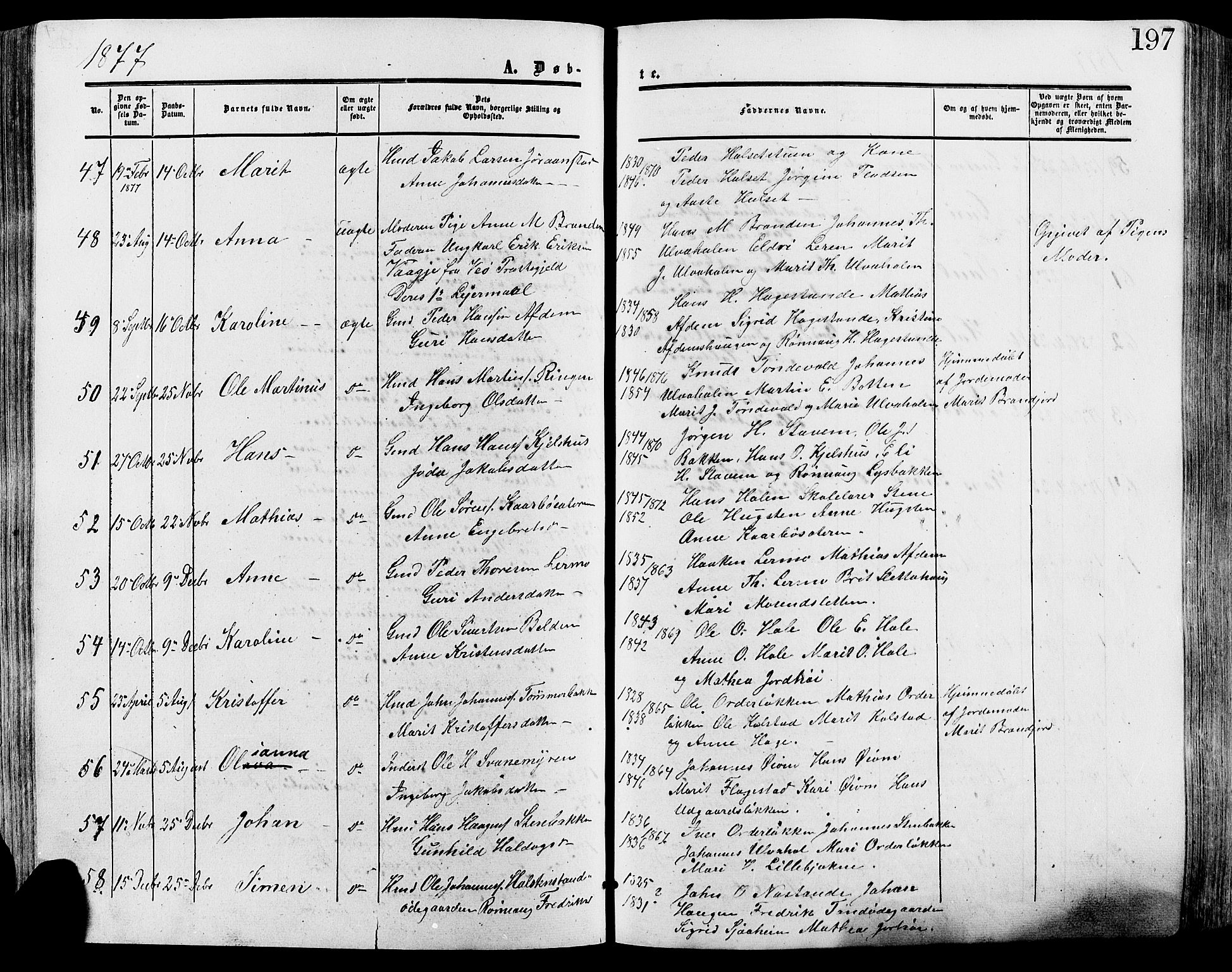 SAH, Lesja prestekontor, Ministerialbok nr. 8, 1854-1880, s. 197