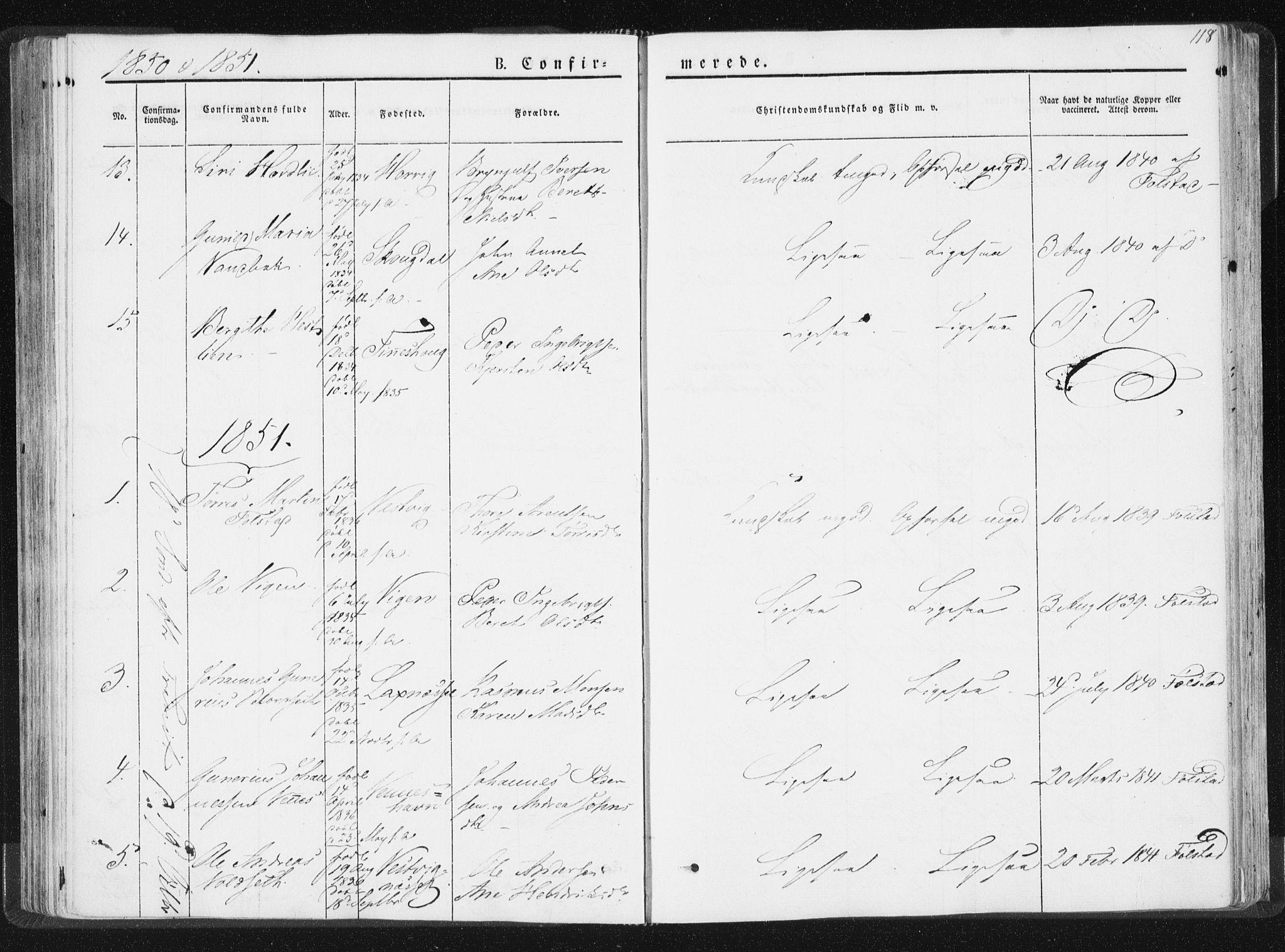 SAT, Ministerialprotokoller, klokkerbøker og fødselsregistre - Nord-Trøndelag, 744/L0418: Ministerialbok nr. 744A02, 1843-1866, s. 118