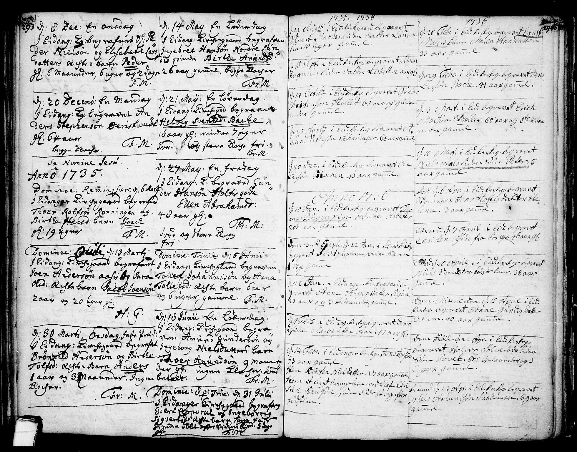 SAKO, Eidanger kirkebøker, F/Fa/L0004: Ministerialbok nr. 4, 1733-1759, s. 293-294