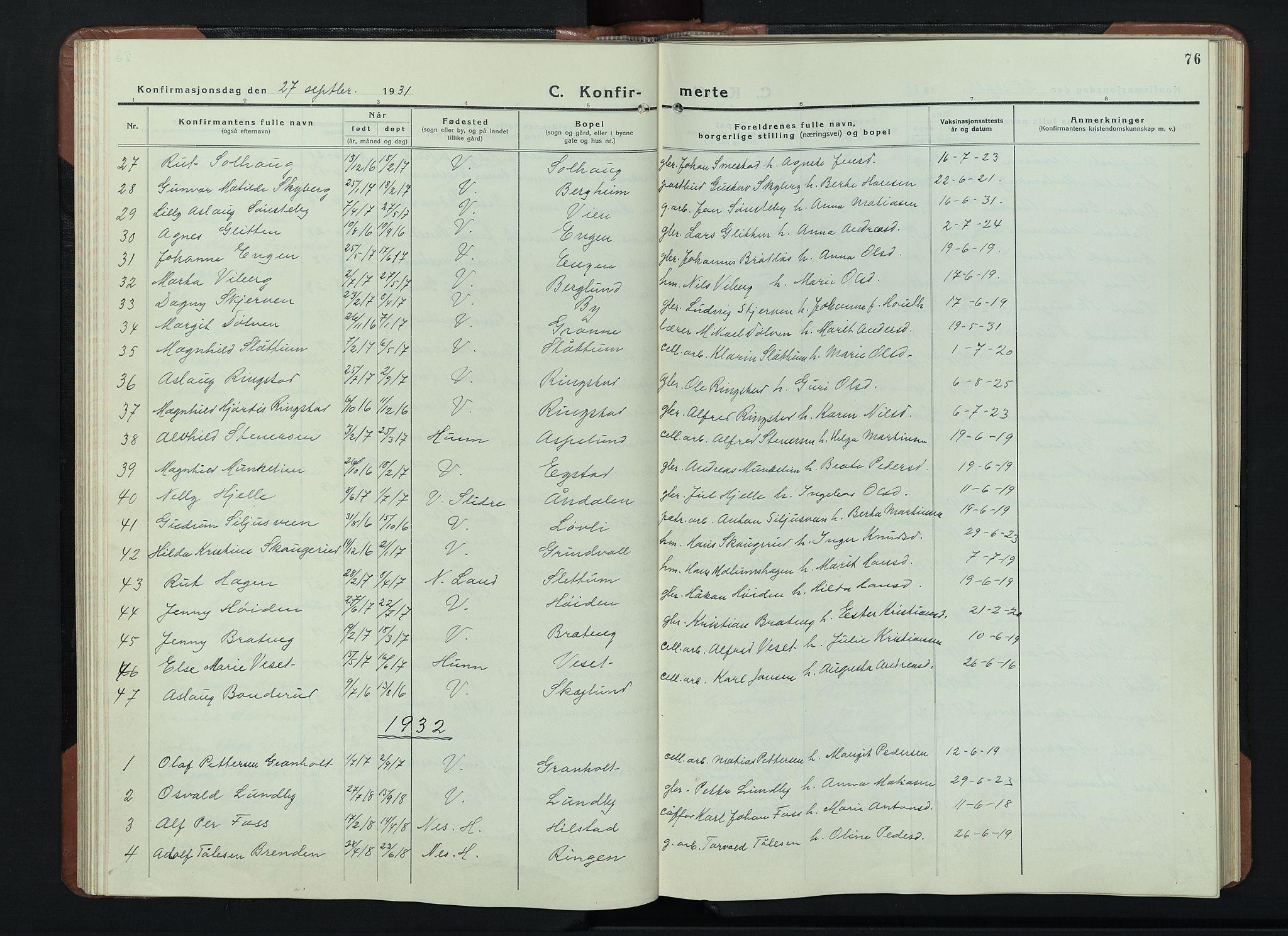 SAH, Vardal prestekontor, H/Ha/Hab/L0018: Klokkerbok nr. 18, 1931-1951, s. 76