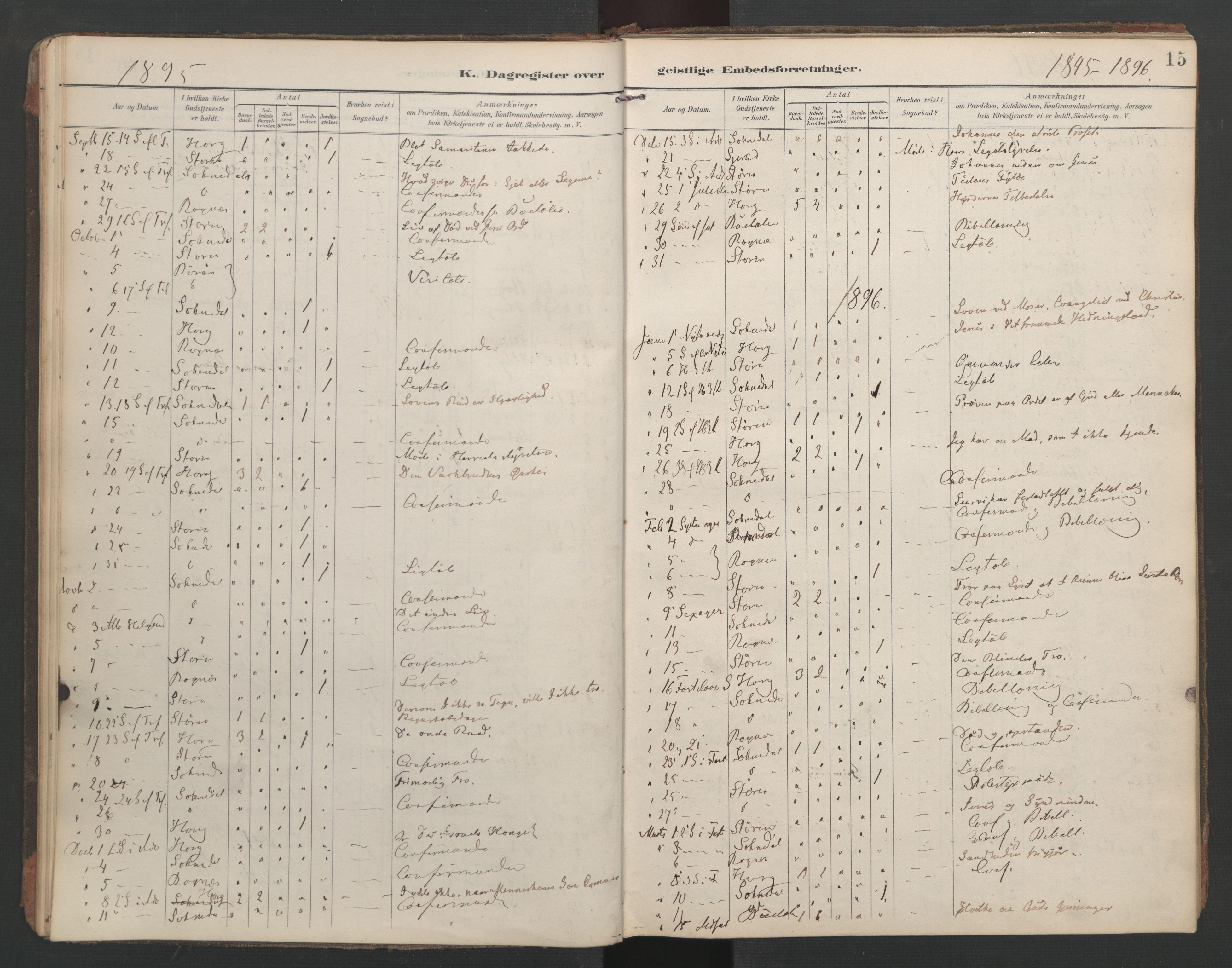 SAT, Ministerialprotokoller, klokkerbøker og fødselsregistre - Sør-Trøndelag, 687/L1005: Dagregister nr. 687A11, 1891-1912, s. 15
