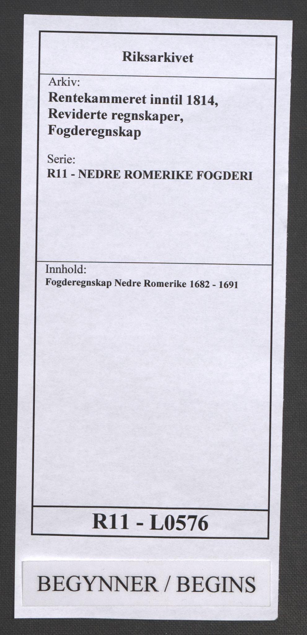 RA, Rentekammeret inntil 1814, Reviderte regnskaper, Fogderegnskap, R11/L0576: Fogderegnskap Nedre Romerike, 1682-1691, s. 1
