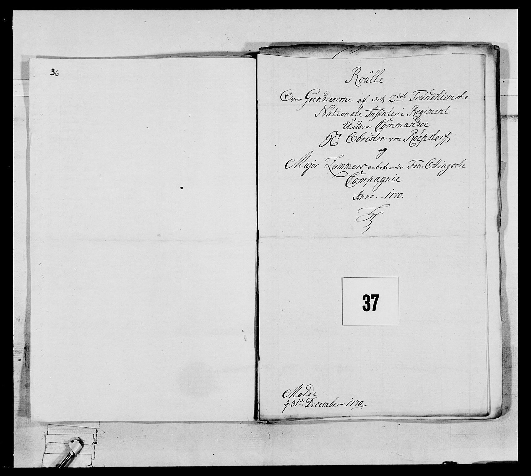 RA, Generalitets- og kommissariatskollegiet, Det kongelige norske kommissariatskollegium, E/Eh/L0076: 2. Trondheimske nasjonale infanteriregiment, 1766-1773, s. 112