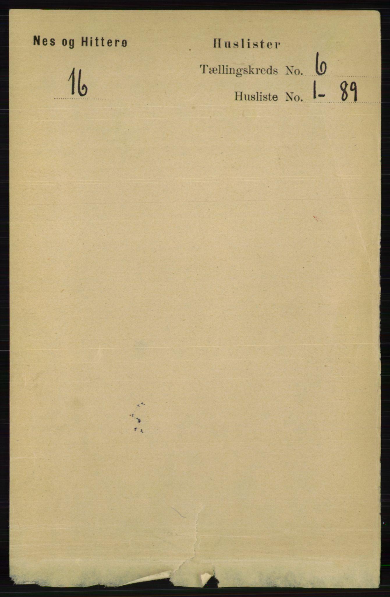 RA, Folketelling 1891 for 1043 Hidra og Nes herred, 1891, s. 2154