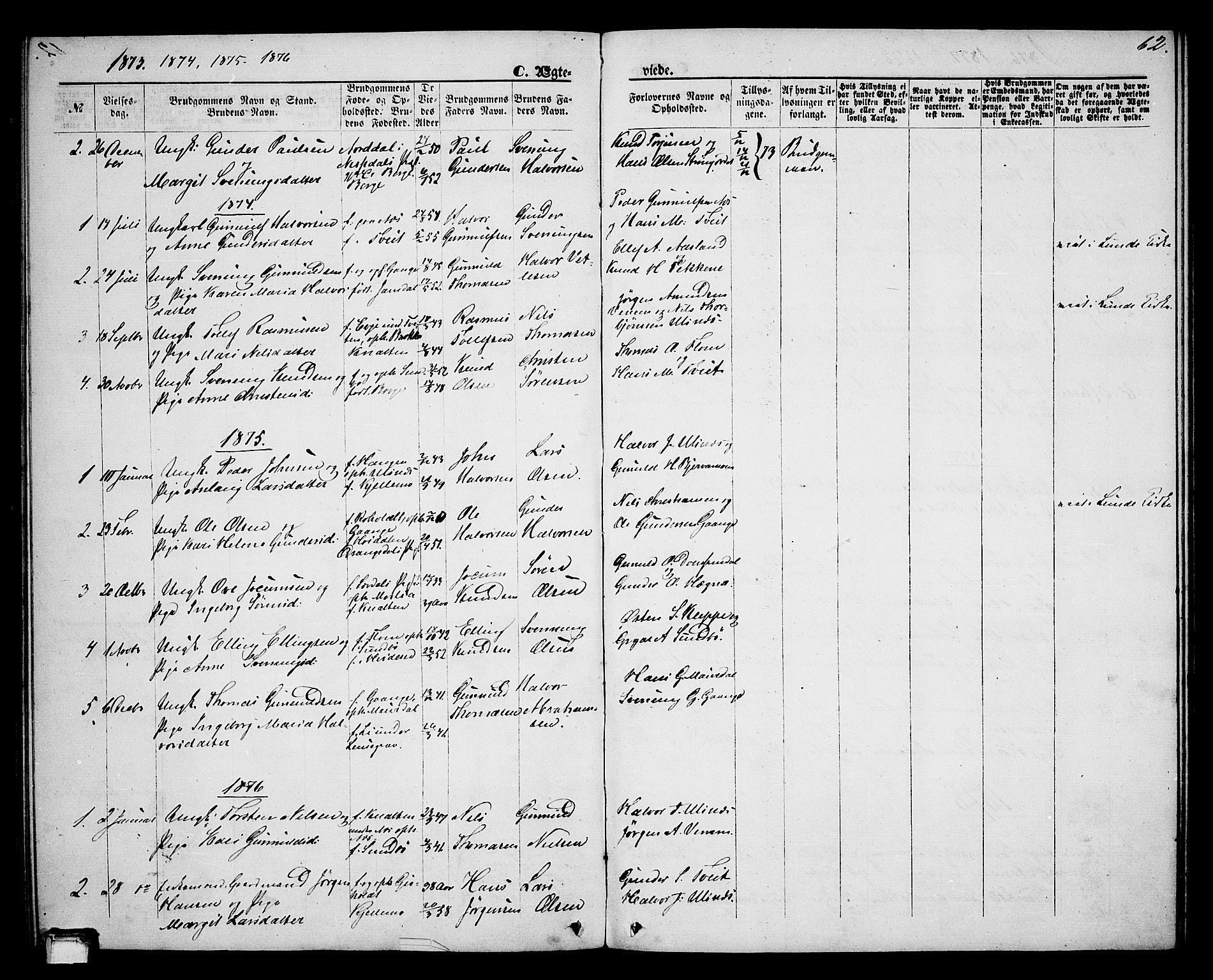 SAKO, Lunde kirkebøker, G/Gb/L0001: Klokkerbok nr. II 1, 1866-1887, s. 62