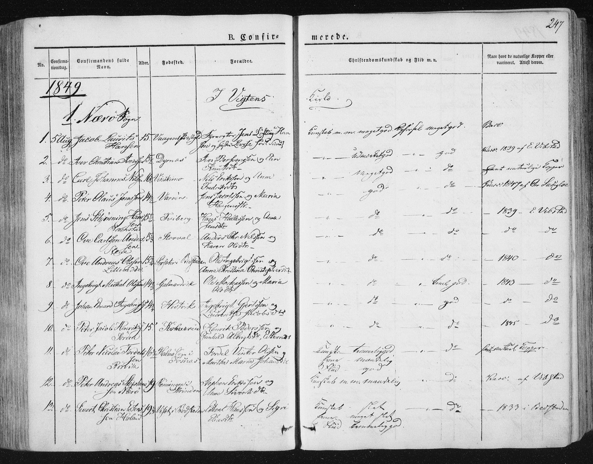 SAT, Ministerialprotokoller, klokkerbøker og fødselsregistre - Nord-Trøndelag, 784/L0669: Ministerialbok nr. 784A04, 1829-1859, s. 247