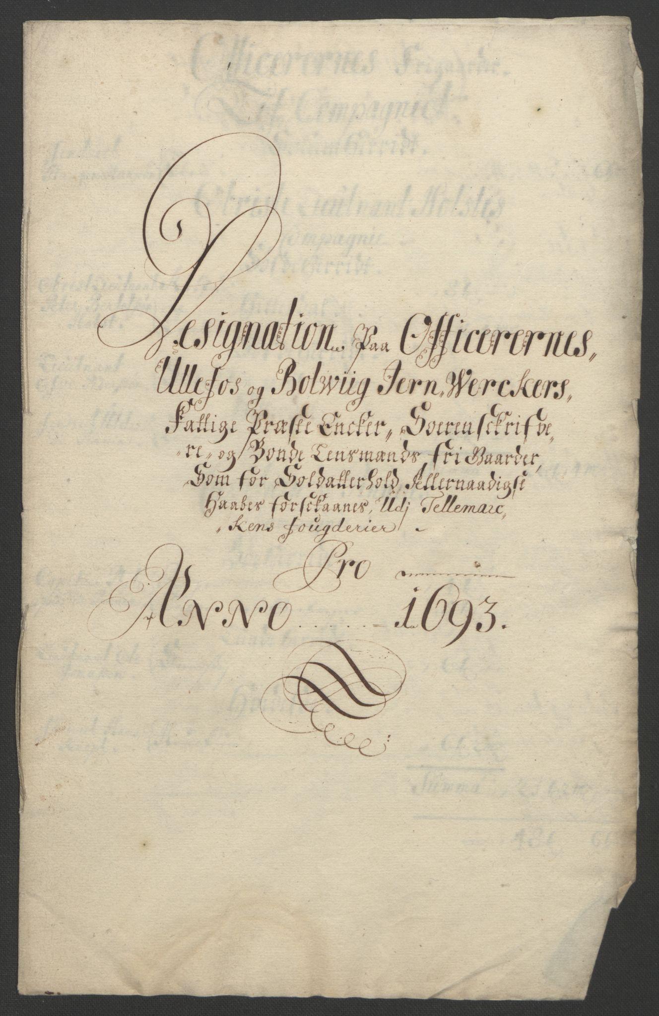 RA, Rentekammeret inntil 1814, Reviderte regnskaper, Fogderegnskap, R35/L2091: Fogderegnskap Øvre og Nedre Telemark, 1690-1693, s. 369