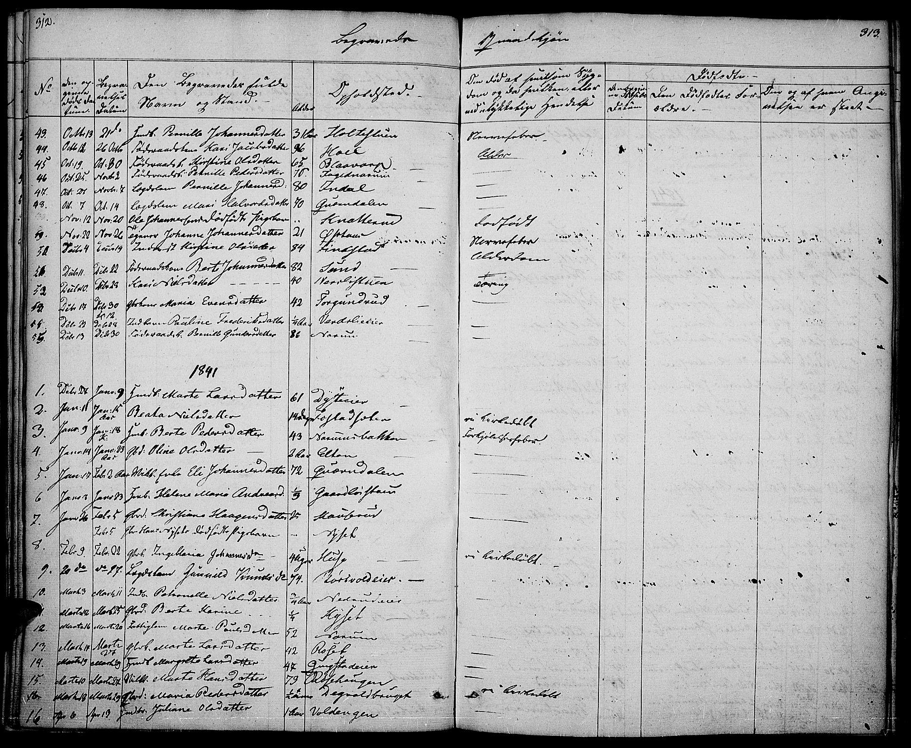 SAH, Vestre Toten prestekontor, Ministerialbok nr. 3, 1836-1843, s. 312-313