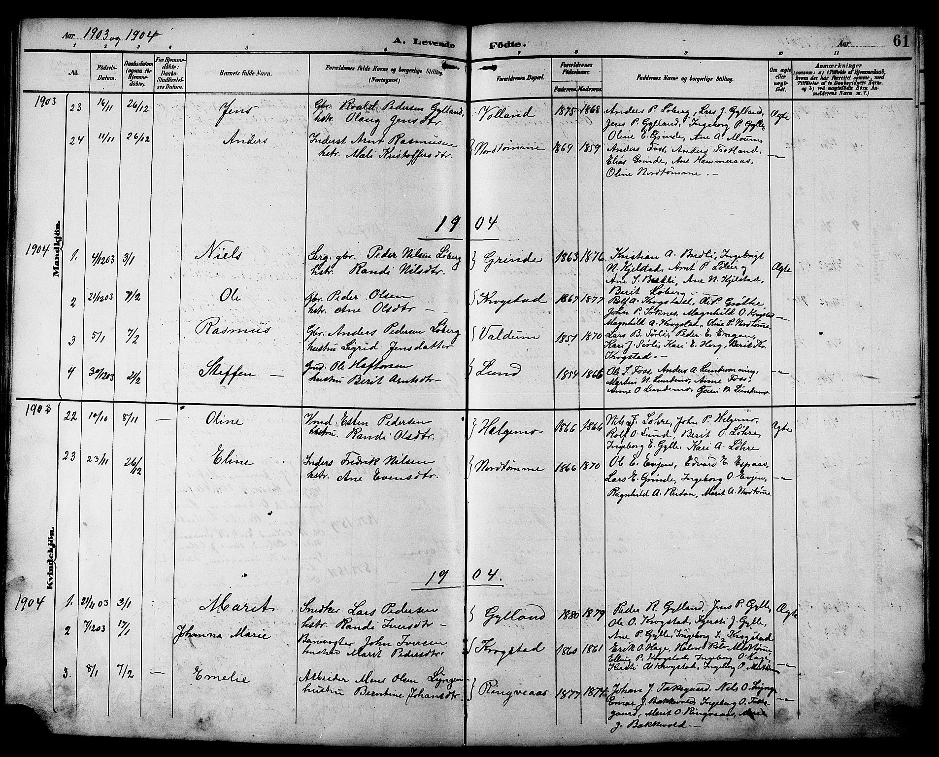 SAT, Ministerialprotokoller, klokkerbøker og fødselsregistre - Sør-Trøndelag, 692/L1111: Klokkerbok nr. 692C06, 1890-1904, s. 61