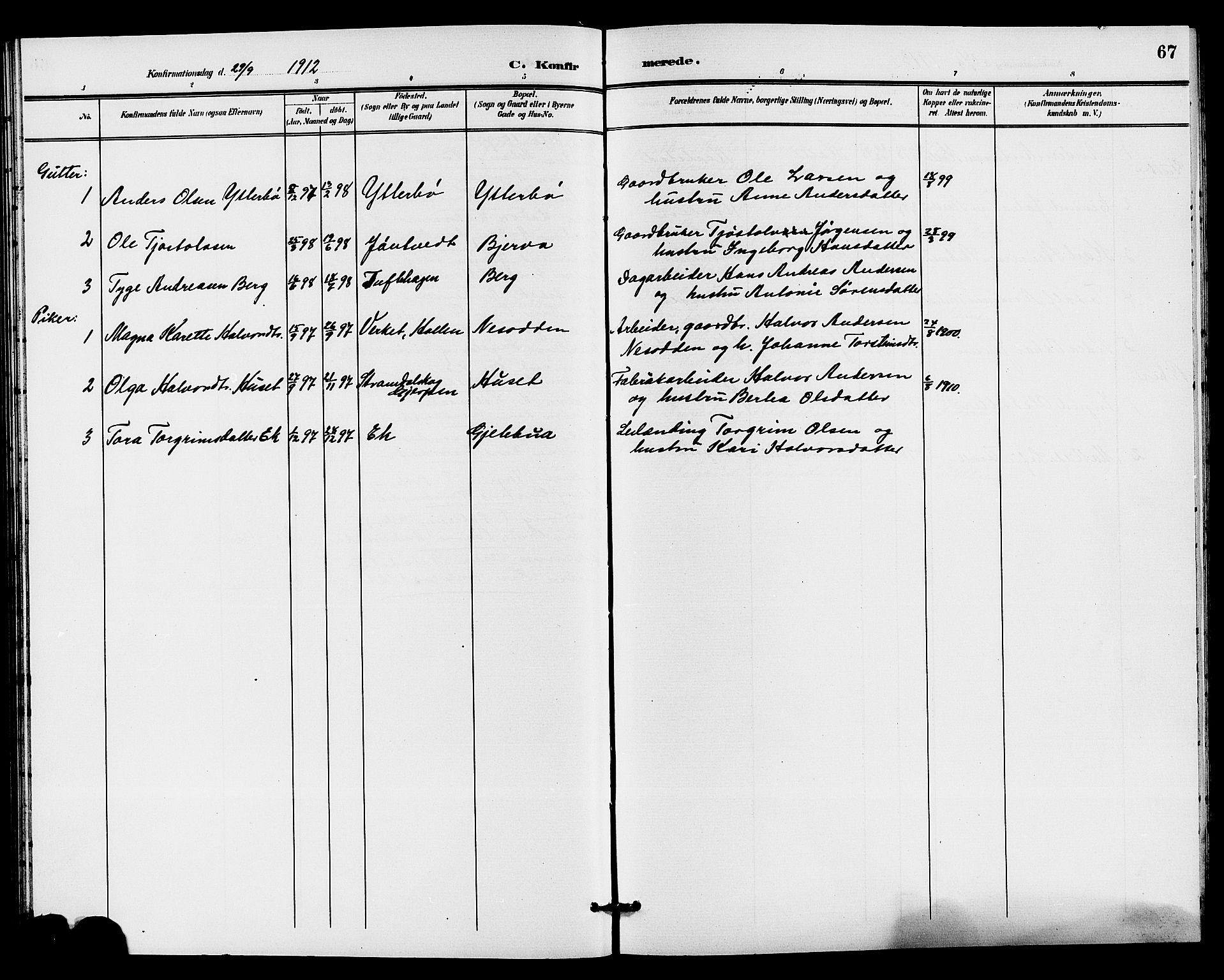 SAKO, Holla kirkebøker, G/Gb/L0002: Klokkerbok nr. II 2, 1897-1913, s. 67