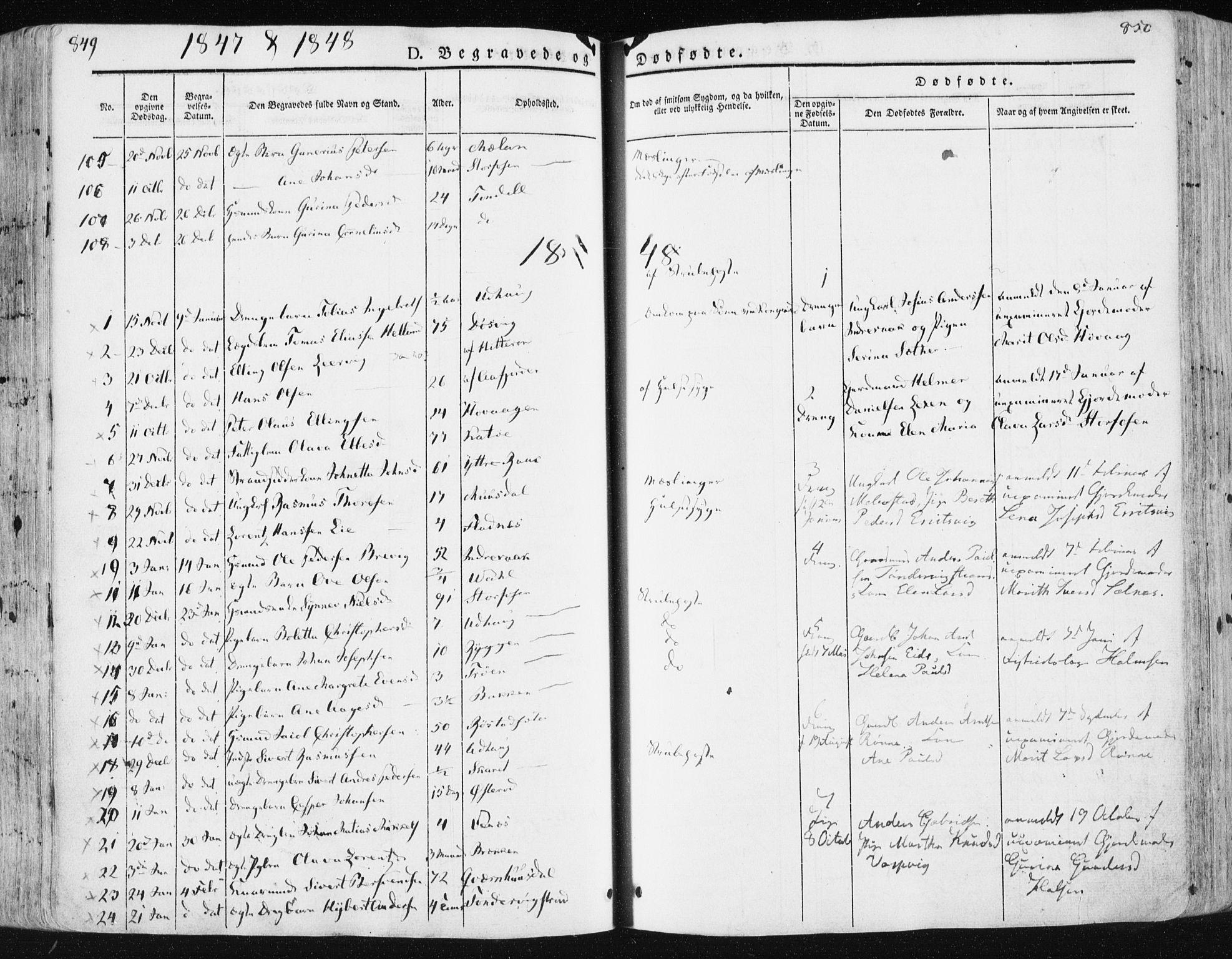 SAT, Ministerialprotokoller, klokkerbøker og fødselsregistre - Sør-Trøndelag, 659/L0736: Ministerialbok nr. 659A06, 1842-1856, s. 849-850