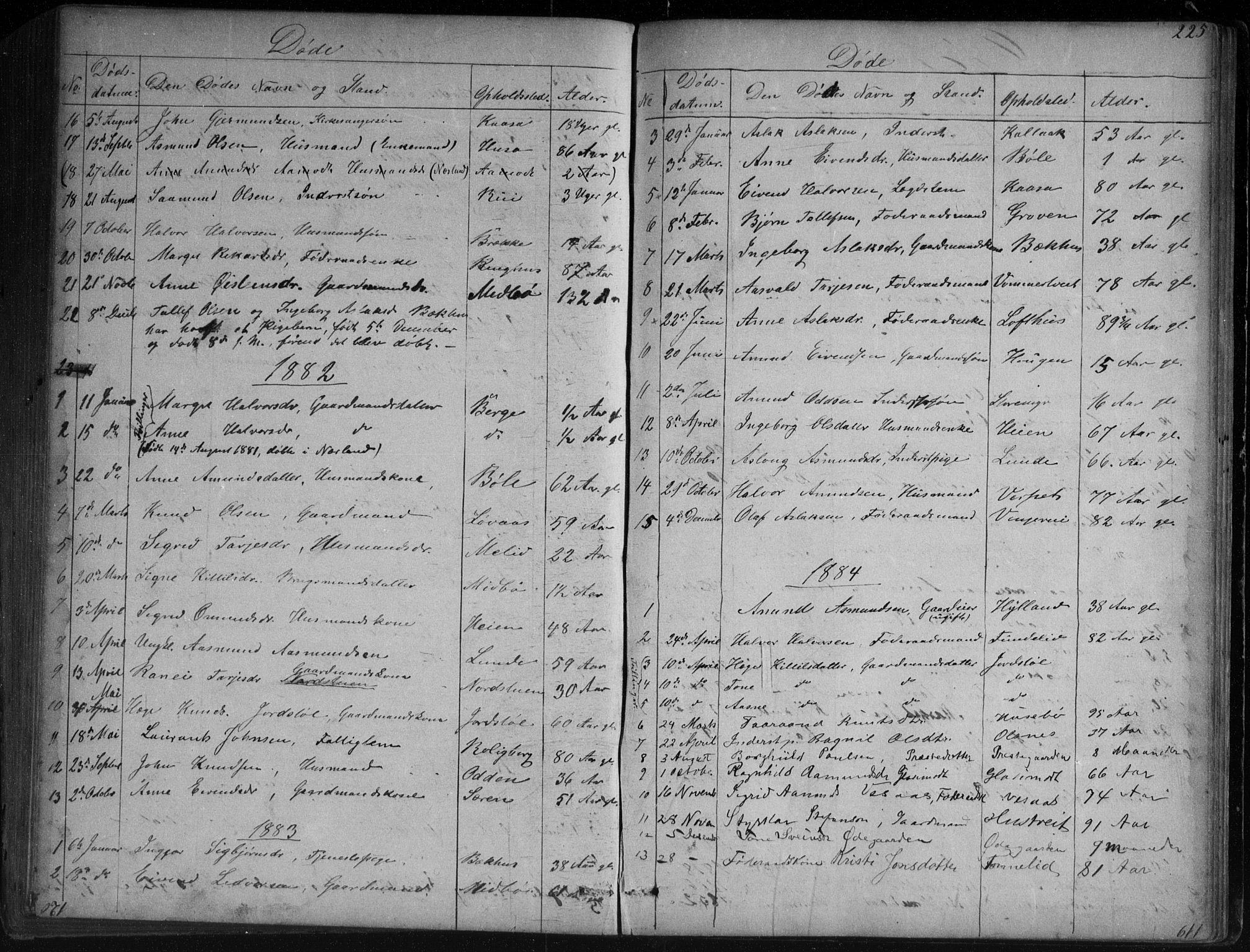 SAKO, Vinje kirkebøker, G/Ga/L0002: Klokkerbok nr. I 2, 1849-1893, s. 225