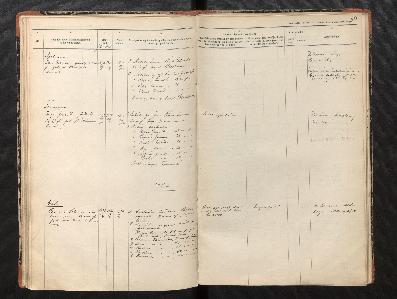 SAB, Lensmannen i Innvik, 0006/L0005: Dødsfallprotokoll, 1921-1932, s. 48b-49a
