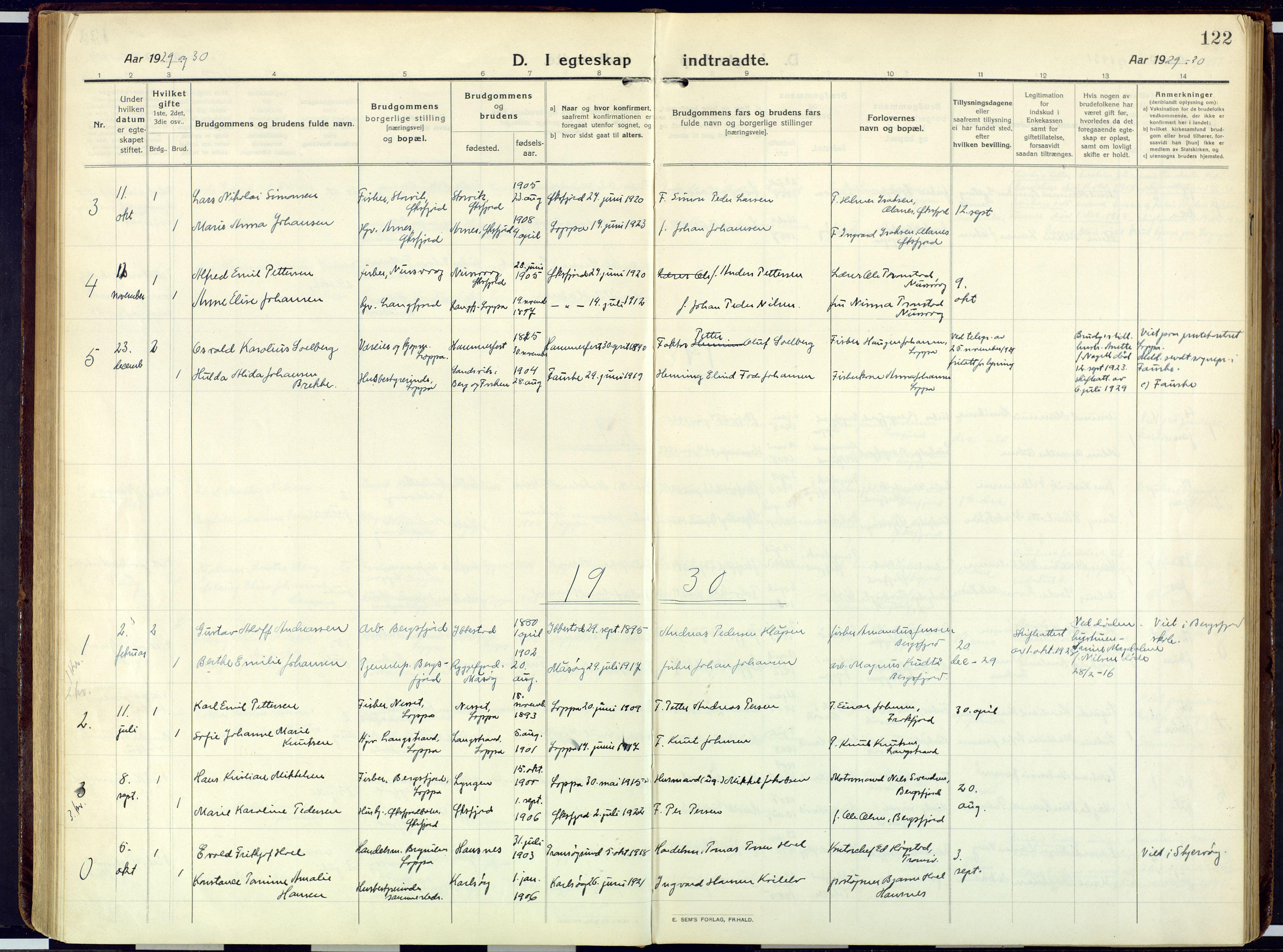 SATØ, Loppa sokneprestkontor, H/Ha/L0013kirke: Ministerialbok nr. 13, 1920-1932, s. 122
