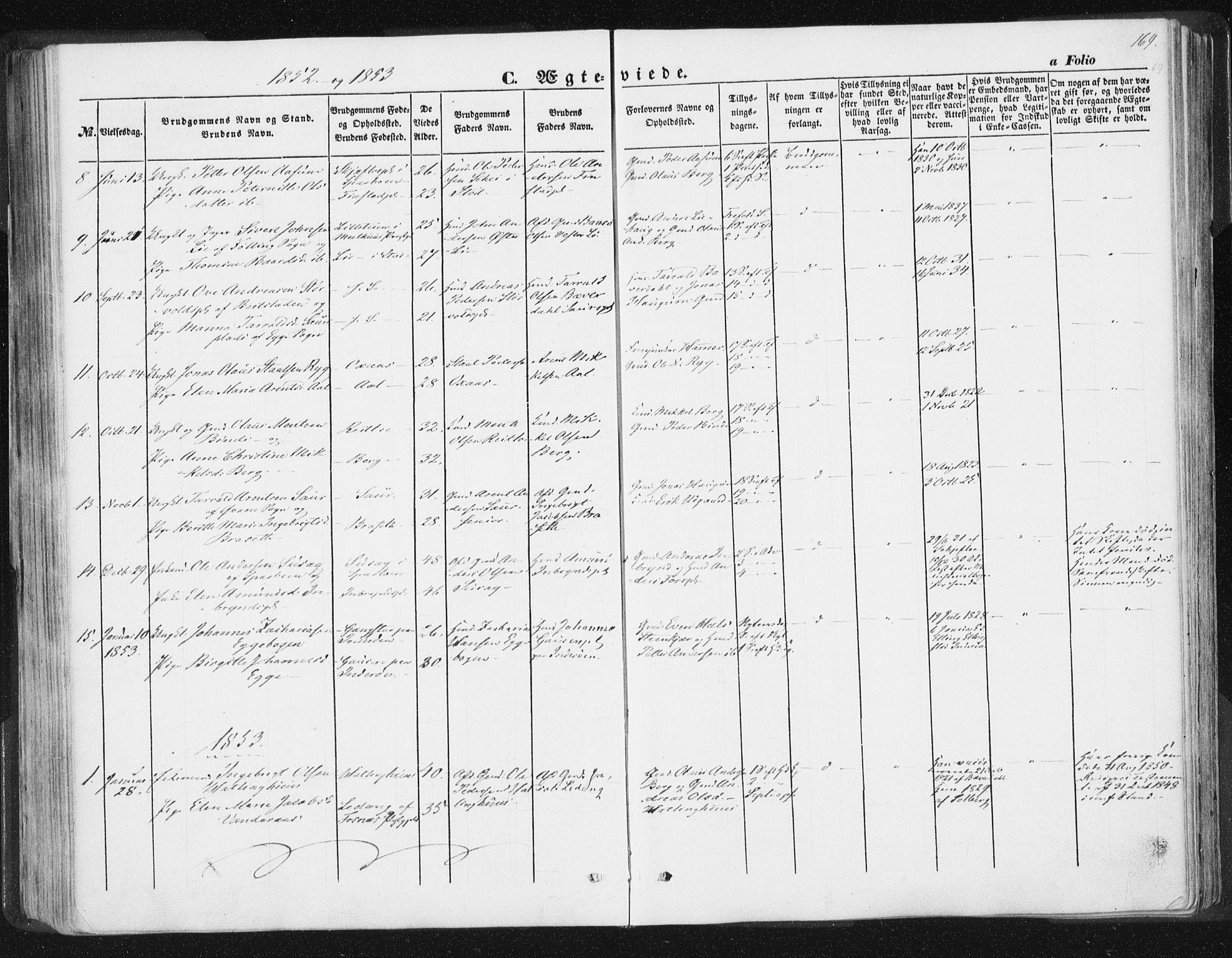 SAT, Ministerialprotokoller, klokkerbøker og fødselsregistre - Nord-Trøndelag, 746/L0446: Ministerialbok nr. 746A05, 1846-1859, s. 169