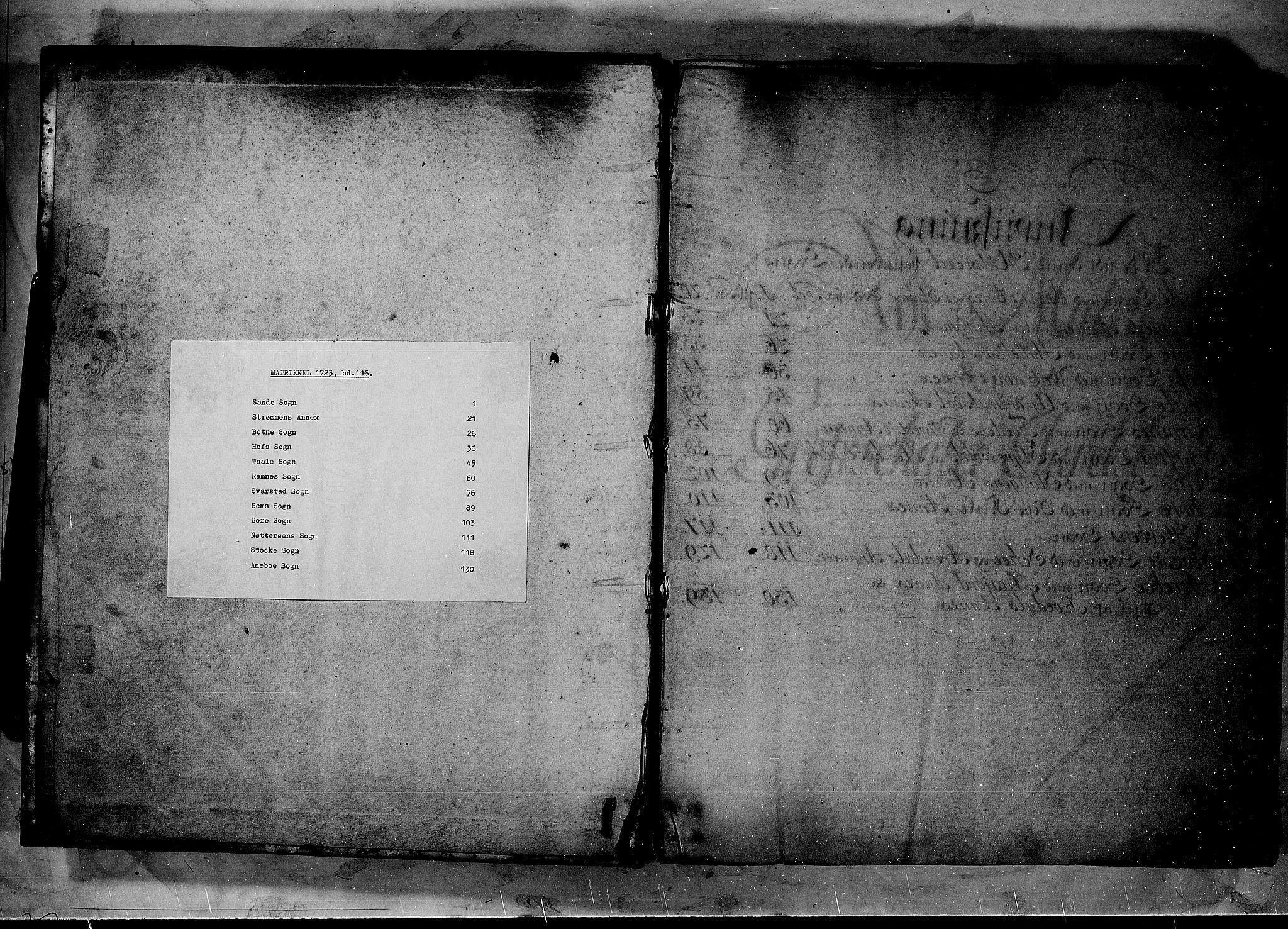 RA, Rentekammeret inntil 1814, Realistisk ordnet avdeling, N/Nb/Nbf/L0116: Jarlsberg grevskap matrikkelprotokoll, 1723, s. upaginert
