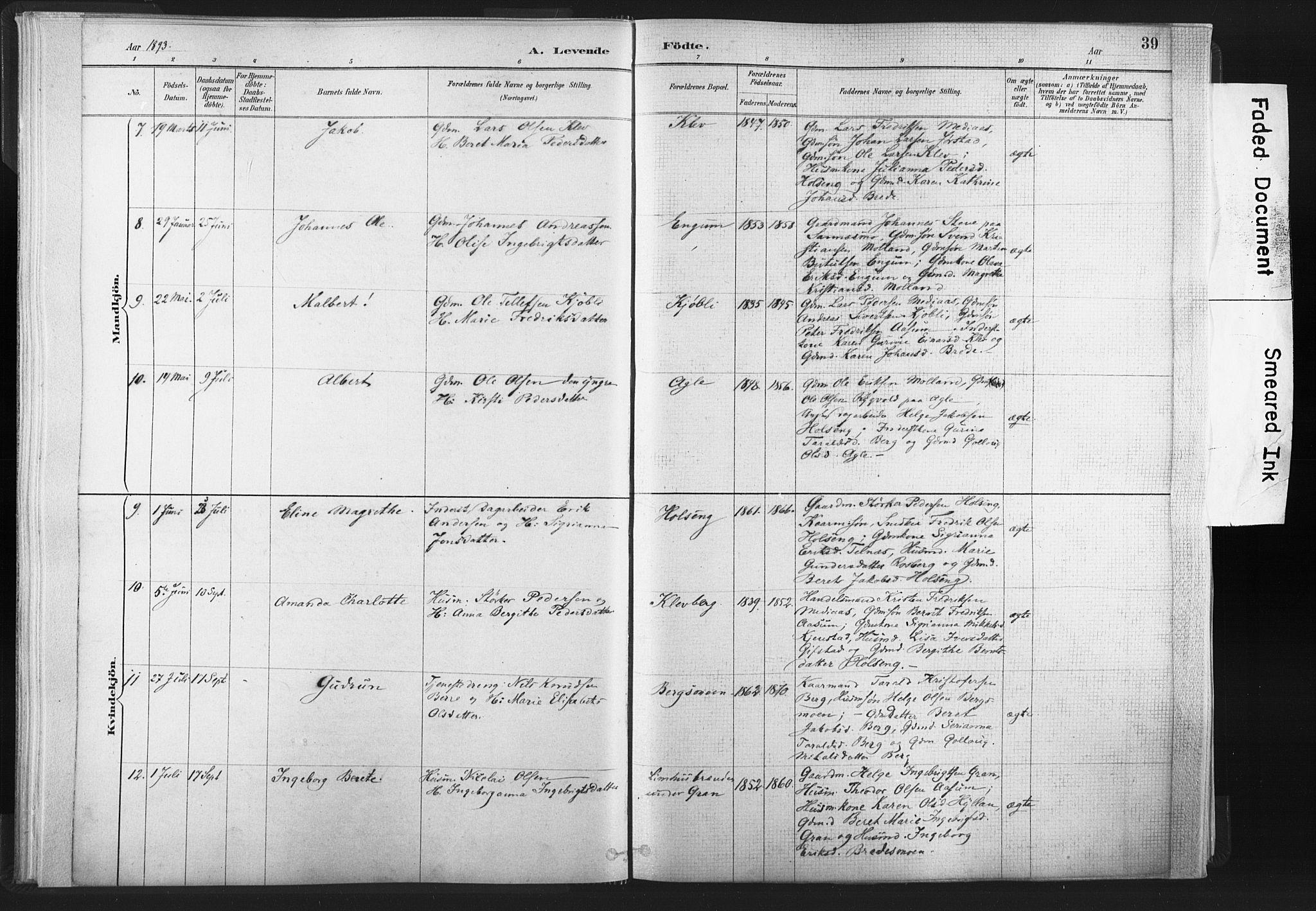 SAT, Ministerialprotokoller, klokkerbøker og fødselsregistre - Nord-Trøndelag, 749/L0474: Ministerialbok nr. 749A08, 1887-1903, s. 39