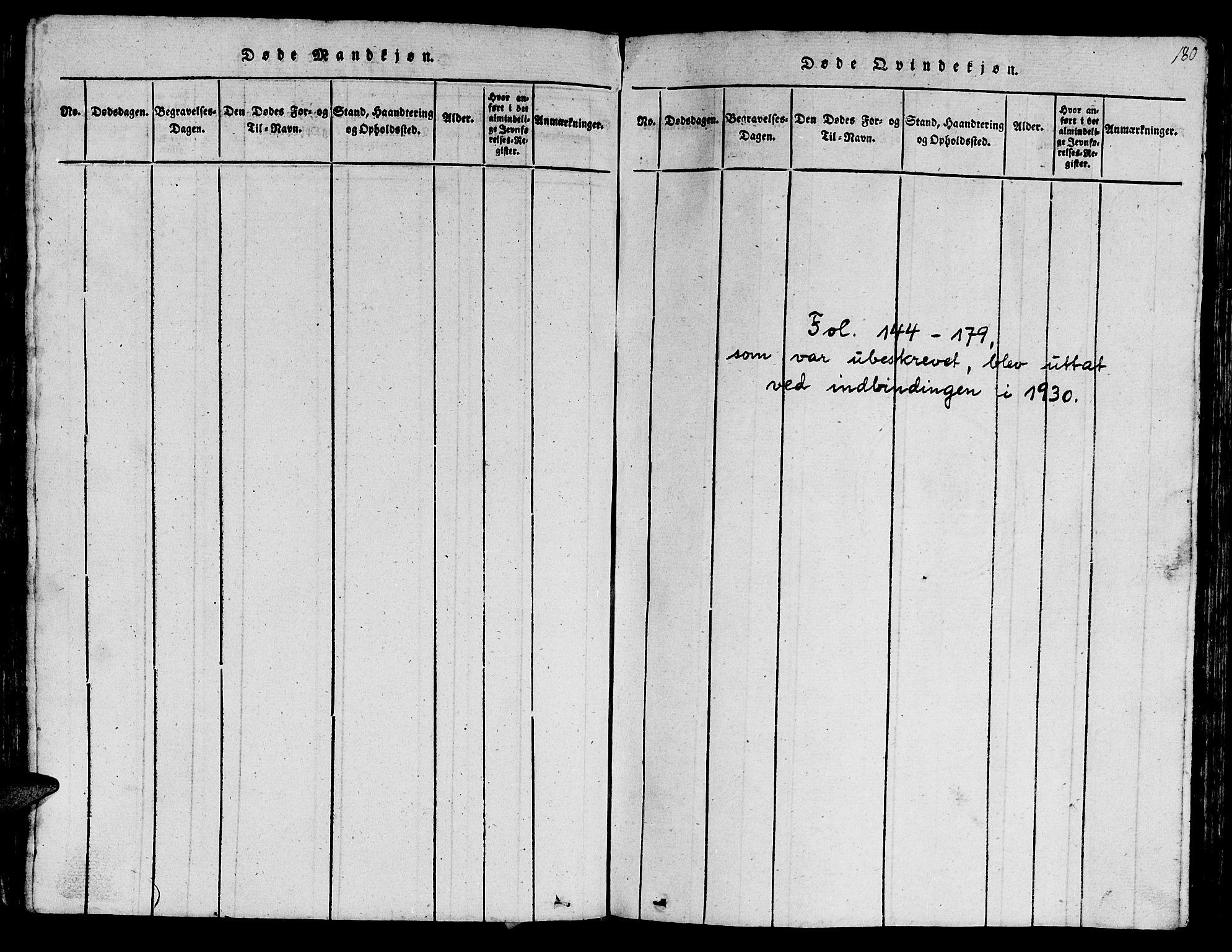 SAT, Ministerialprotokoller, klokkerbøker og fødselsregistre - Sør-Trøndelag, 612/L0385: Klokkerbok nr. 612C01, 1816-1845, s. 180