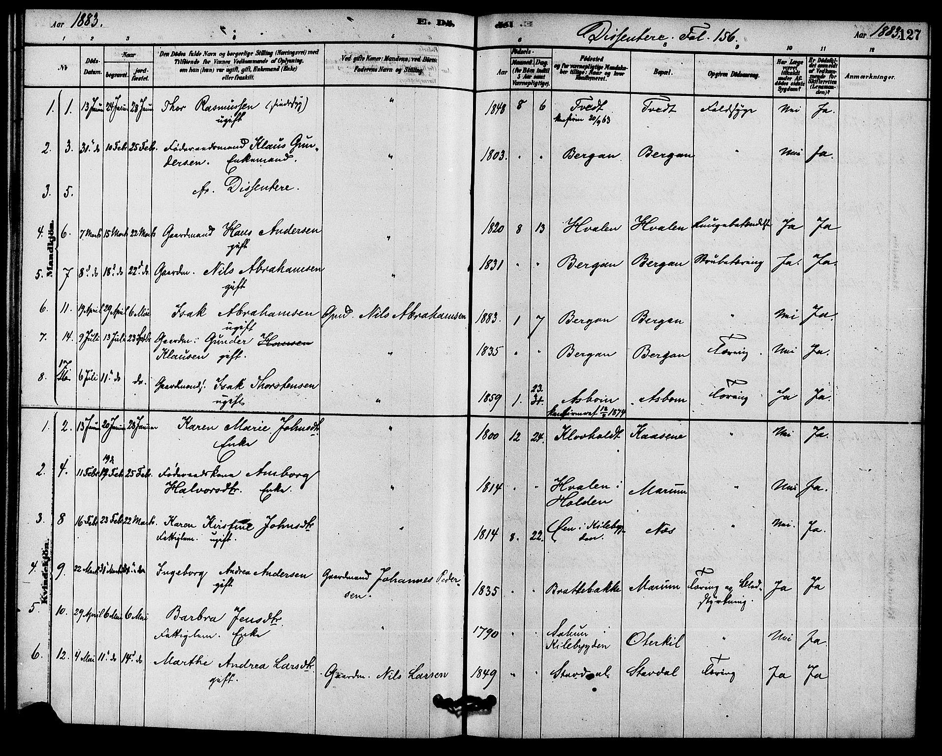 SAKO, Solum kirkebøker, F/Fb/L0001: Ministerialbok nr. II 1, 1877-1892, s. 127