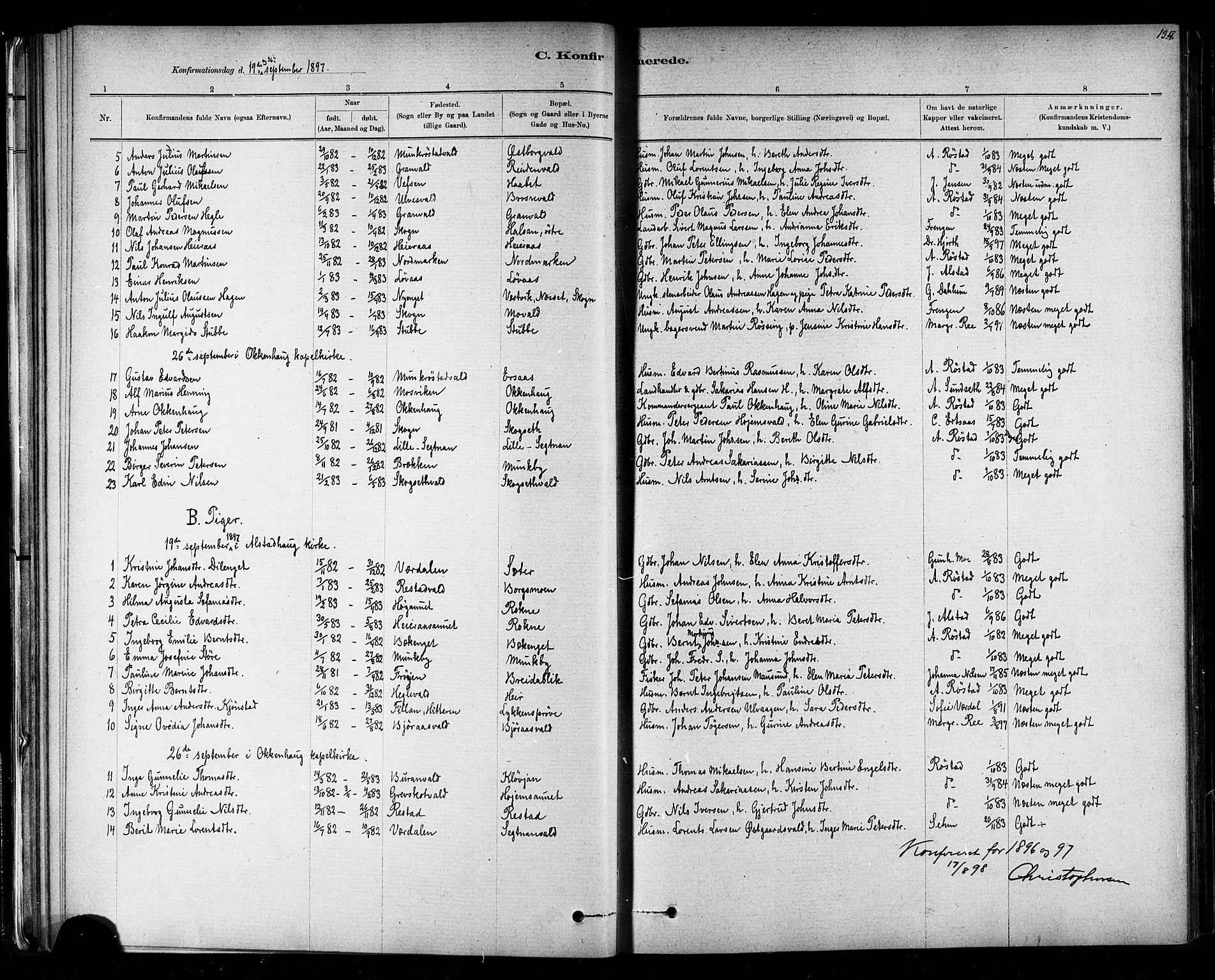 SAT, Ministerialprotokoller, klokkerbøker og fødselsregistre - Nord-Trøndelag, 721/L0208: Klokkerbok nr. 721C01, 1880-1917, s. 134