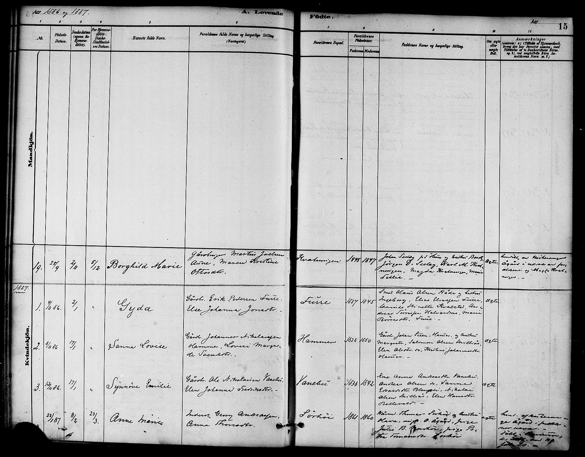 SAT, Ministerialprotokoller, klokkerbøker og fødselsregistre - Nord-Trøndelag, 766/L0563: Ministerialbok nr. 767A01, 1881-1899, s. 15