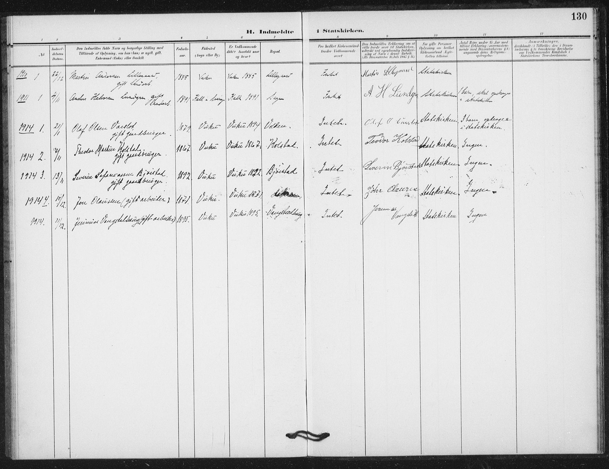 SAT, Ministerialprotokoller, klokkerbøker og fødselsregistre - Nord-Trøndelag, 724/L0264: Ministerialbok nr. 724A02, 1908-1915, s. 130