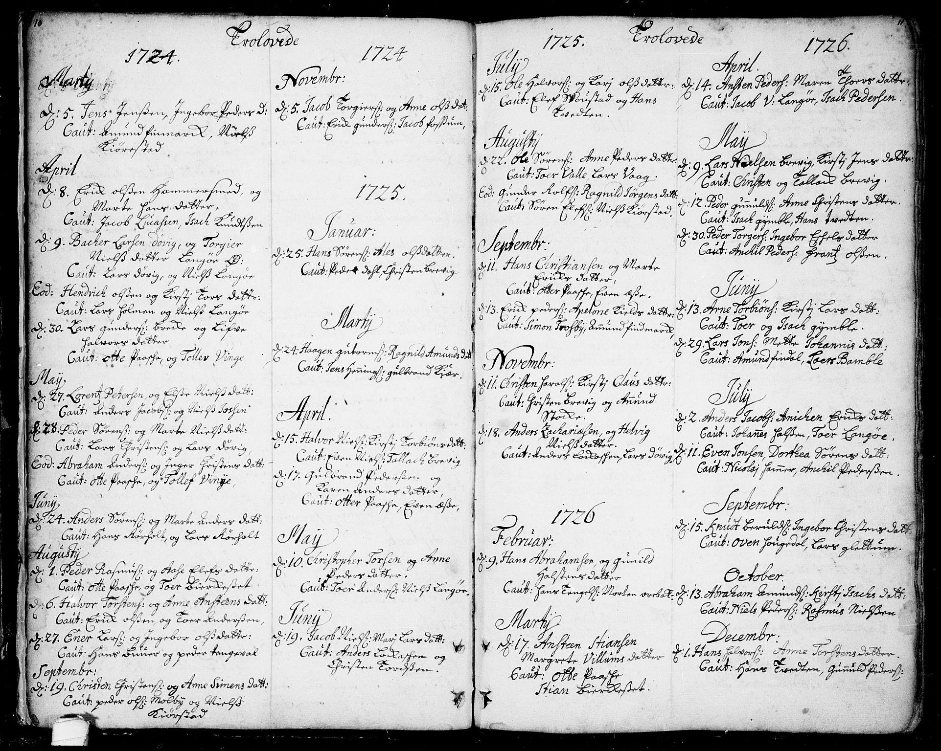 SAKO, Bamble kirkebøker, F/Fa/L0001: Ministerialbok nr. I 1, 1702-1774, s. 10-11