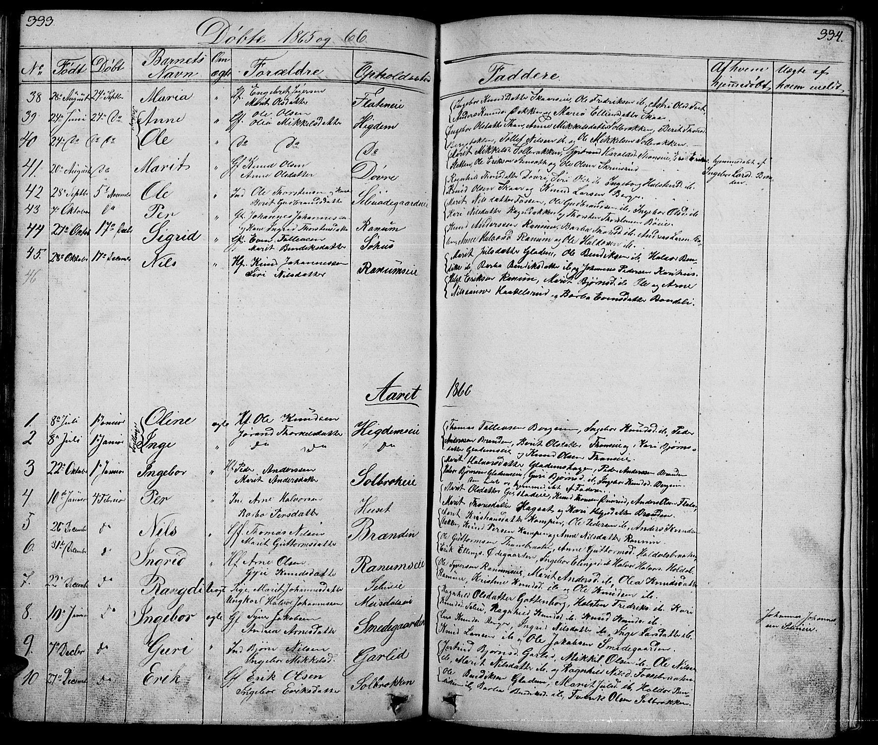 SAH, Nord-Aurdal prestekontor, Klokkerbok nr. 1, 1834-1887, s. 333-334
