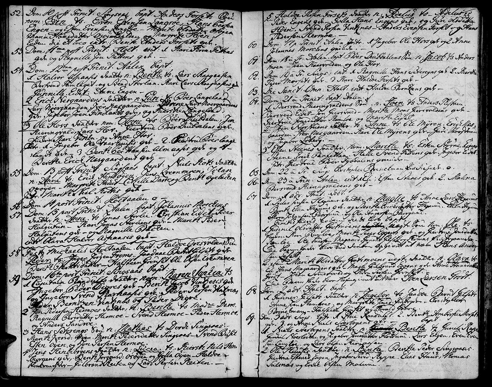 SAT, Ministerialprotokoller, klokkerbøker og fødselsregistre - Sør-Trøndelag, 685/L0952: Ministerialbok nr. 685A01, 1745-1804, s. 55