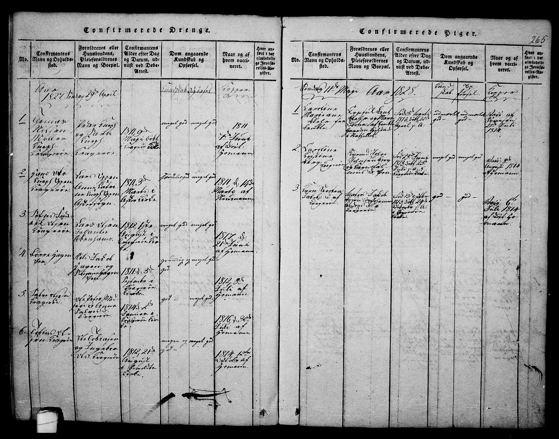 SAKO, Kragerø kirkebøker, F/Fa/L0004: Ministerialbok nr. 4, 1814-1831, s. 265