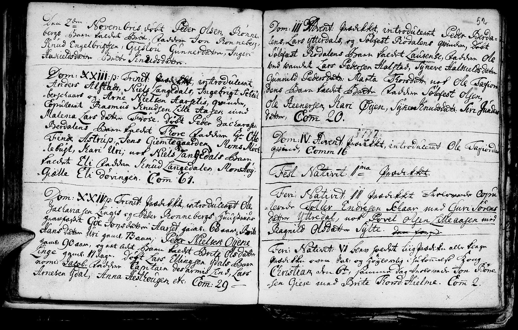 SAT, Ministerialprotokoller, klokkerbøker og fødselsregistre - Møre og Romsdal, 519/L0240: Ministerialbok nr. 519A01 /1, 1736-1760, s. 52