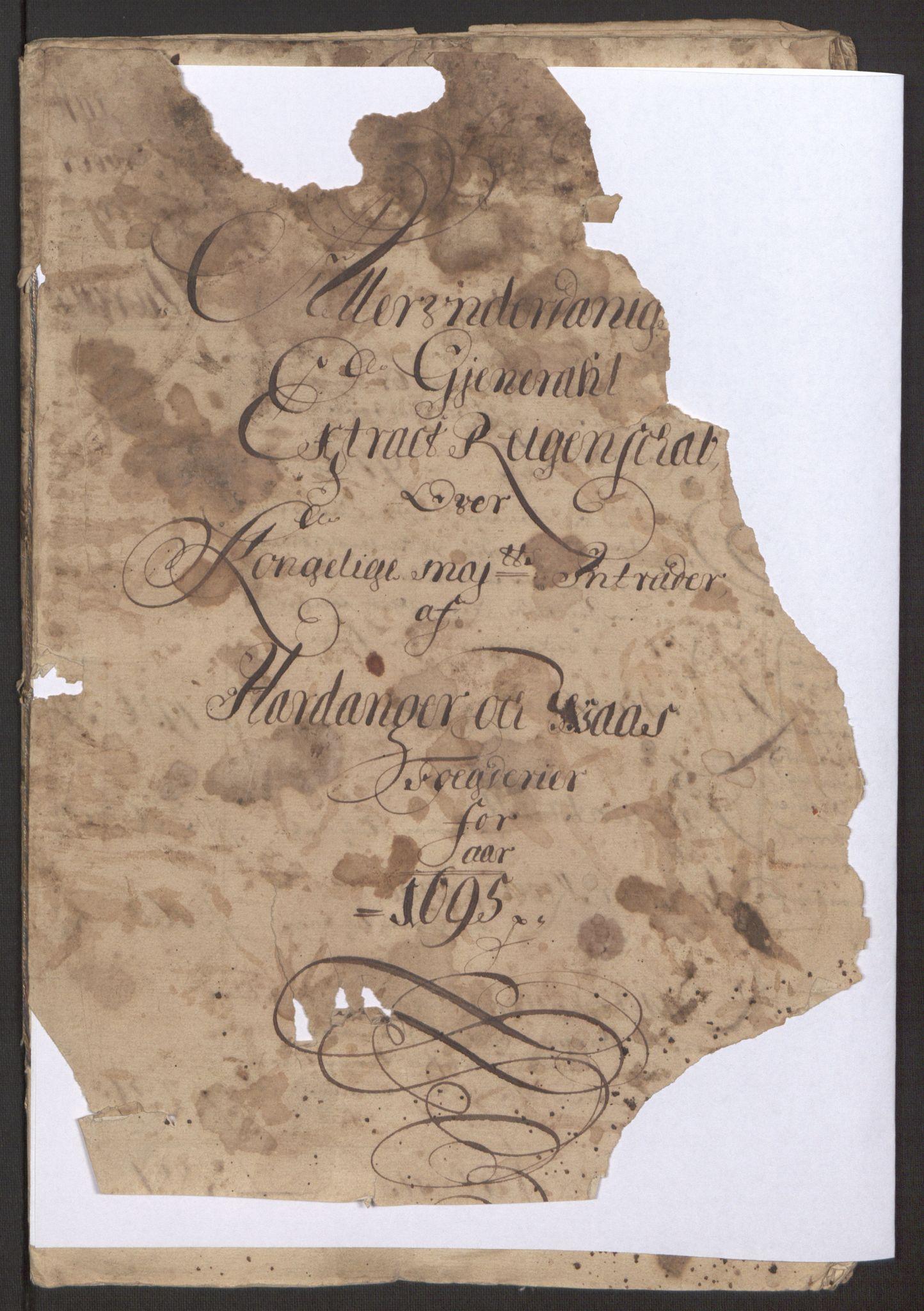 RA, Rentekammeret inntil 1814, Reviderte regnskaper, Fogderegnskap, R48/L2976: Fogderegnskap Sunnhordland og Hardanger, 1695-1696, s. 143