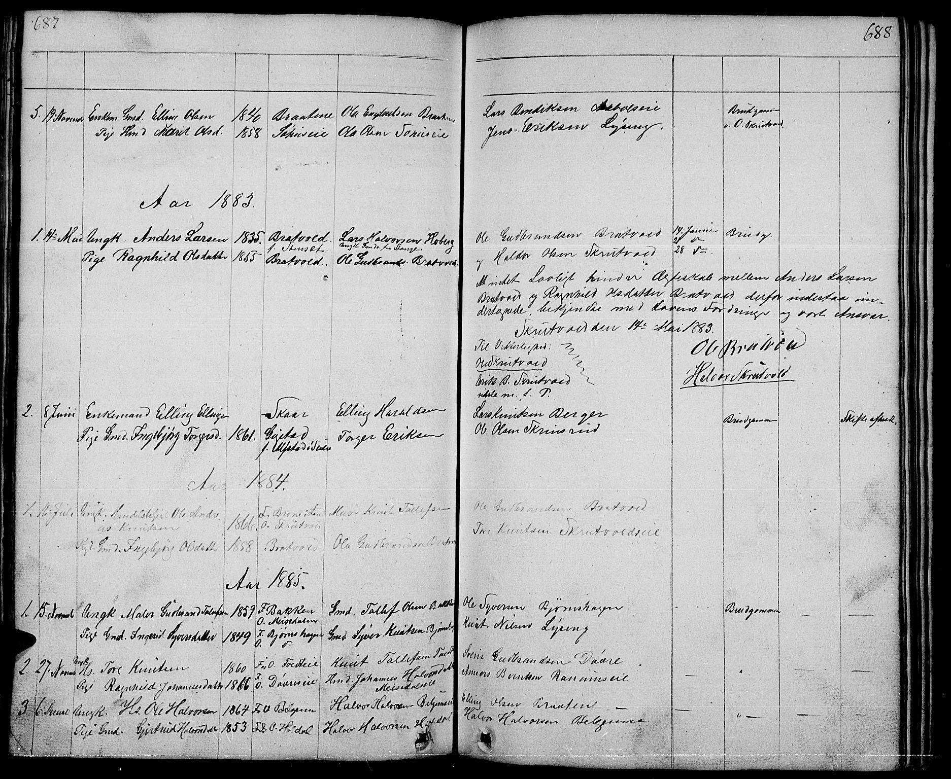 SAH, Nord-Aurdal prestekontor, Klokkerbok nr. 1, 1834-1887, s. 687-688
