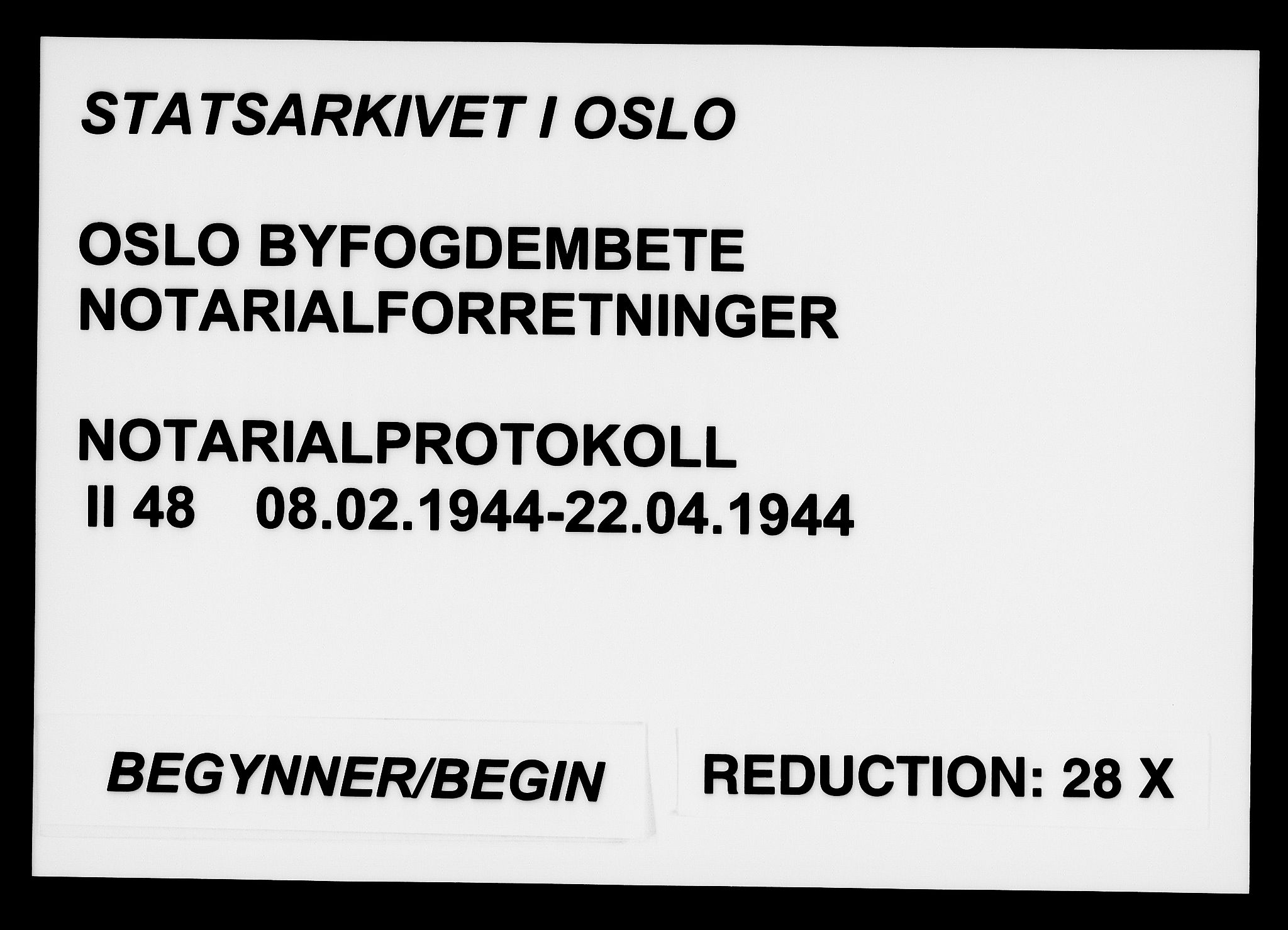 SAO, Oslo byfogd avd. I, L/Lb/Lbb/L0048: Notarialprotokoll, rekke II: Vigsler, 1944, s. upaginert