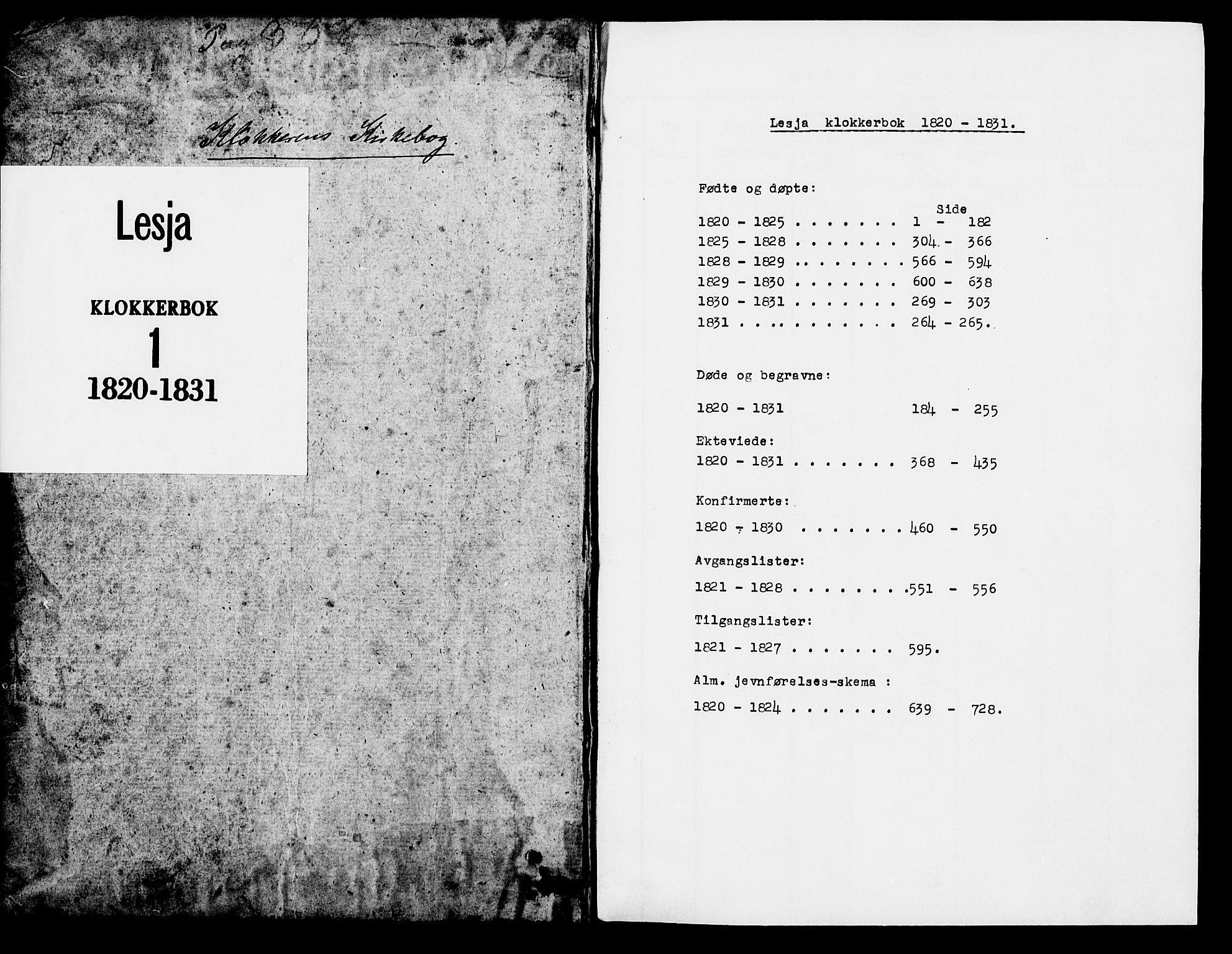 SAH, Lesja prestekontor, Klokkerbok nr. 1, 1820-1831