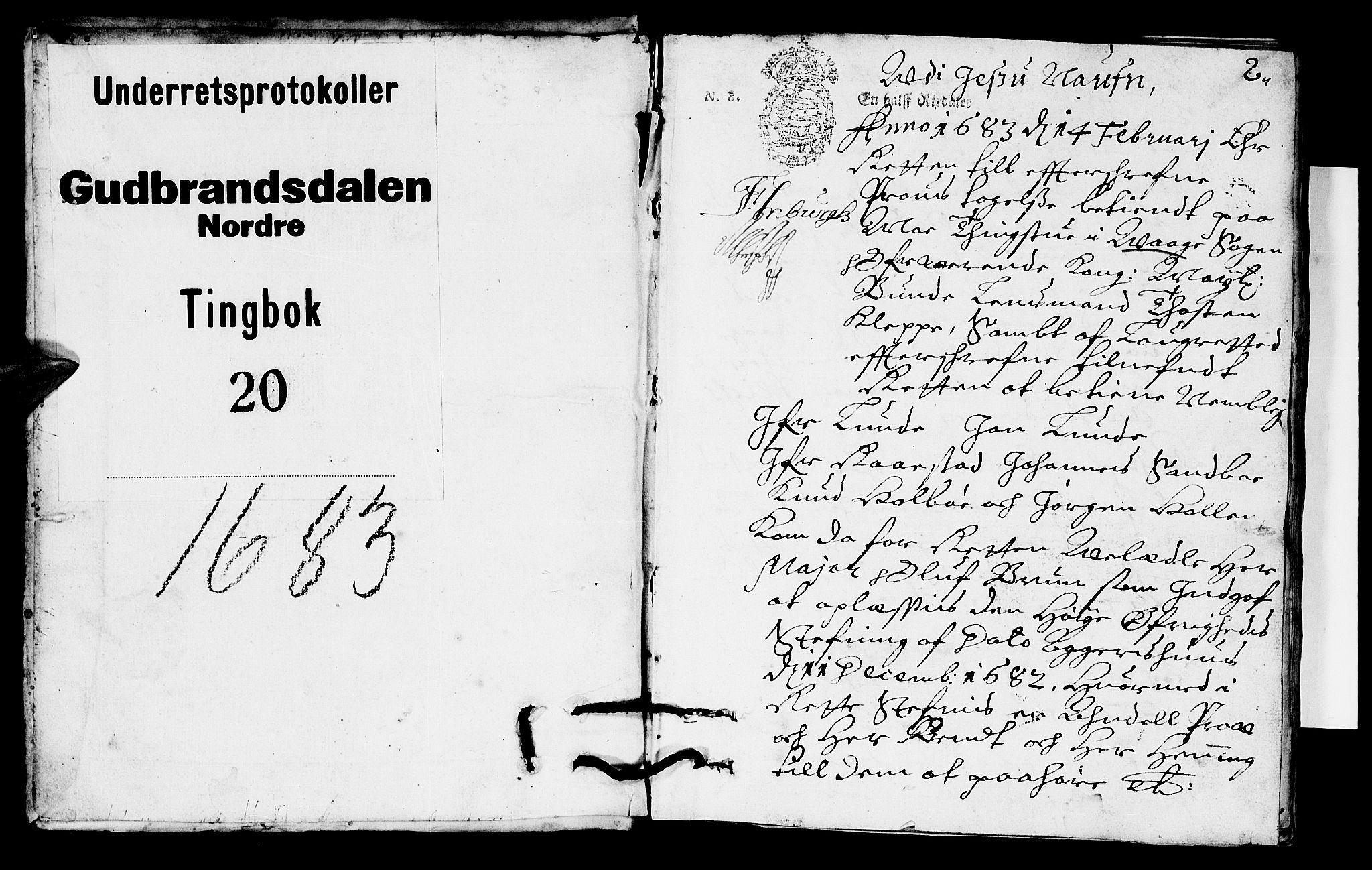 SAH, Sorenskriverier i Gudbrandsdalen, G/Gb/Gba/L0019: Tingbok - Nord-Gudbrandsdal, 1683, s. 1b-2a