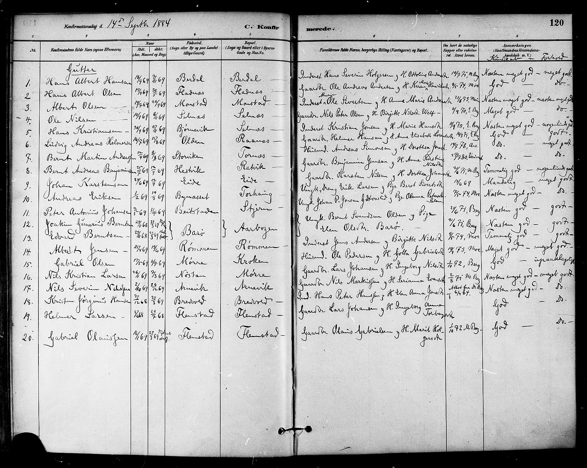 SAT, Ministerialprotokoller, klokkerbøker og fødselsregistre - Sør-Trøndelag, 655/L0680: Ministerialbok nr. 655A09, 1880-1894, s. 120