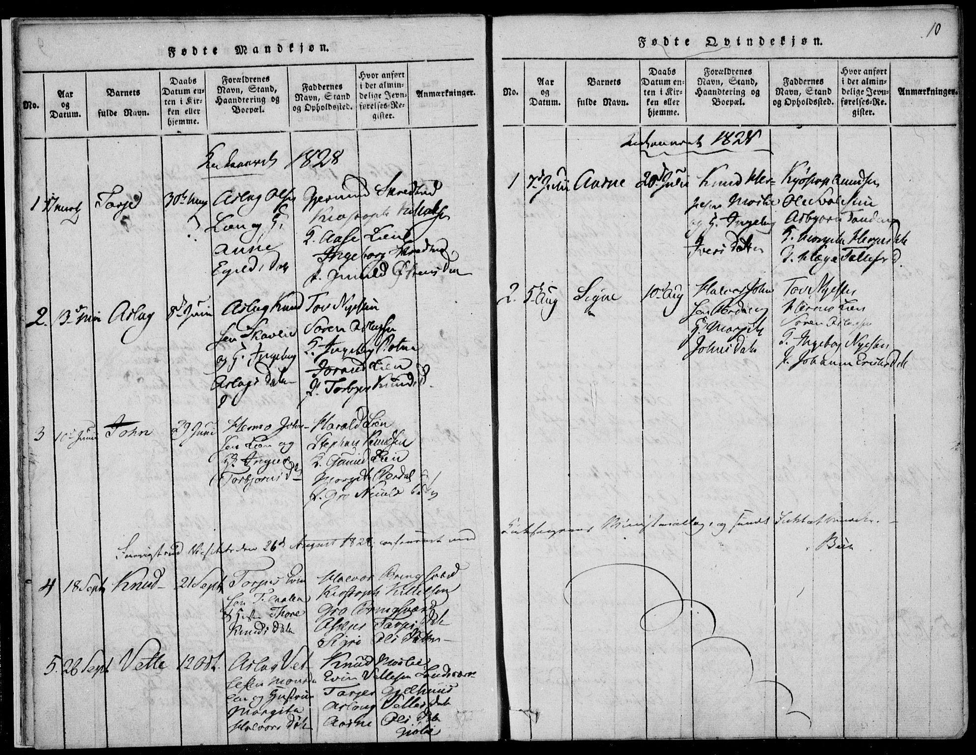 SAKO, Vinje kirkebøker, F/Fb/L0001: Ministerialbok nr. II 1, 1814-1843, s. 10