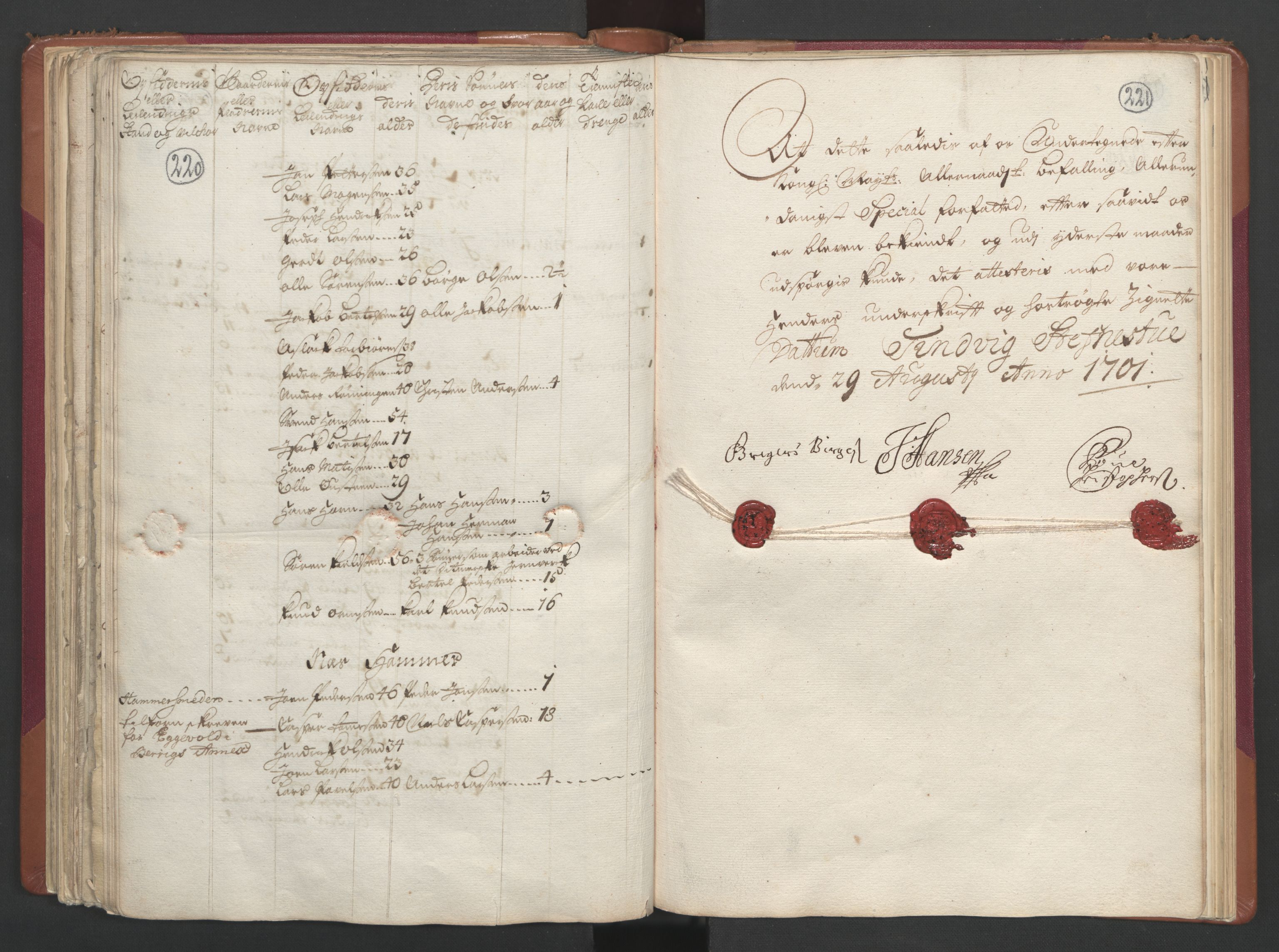 RA, Manntallet 1701, nr. 2: Solør, Odal og Østerdal fogderi og Larvik grevskap, 1701, s. 220-221