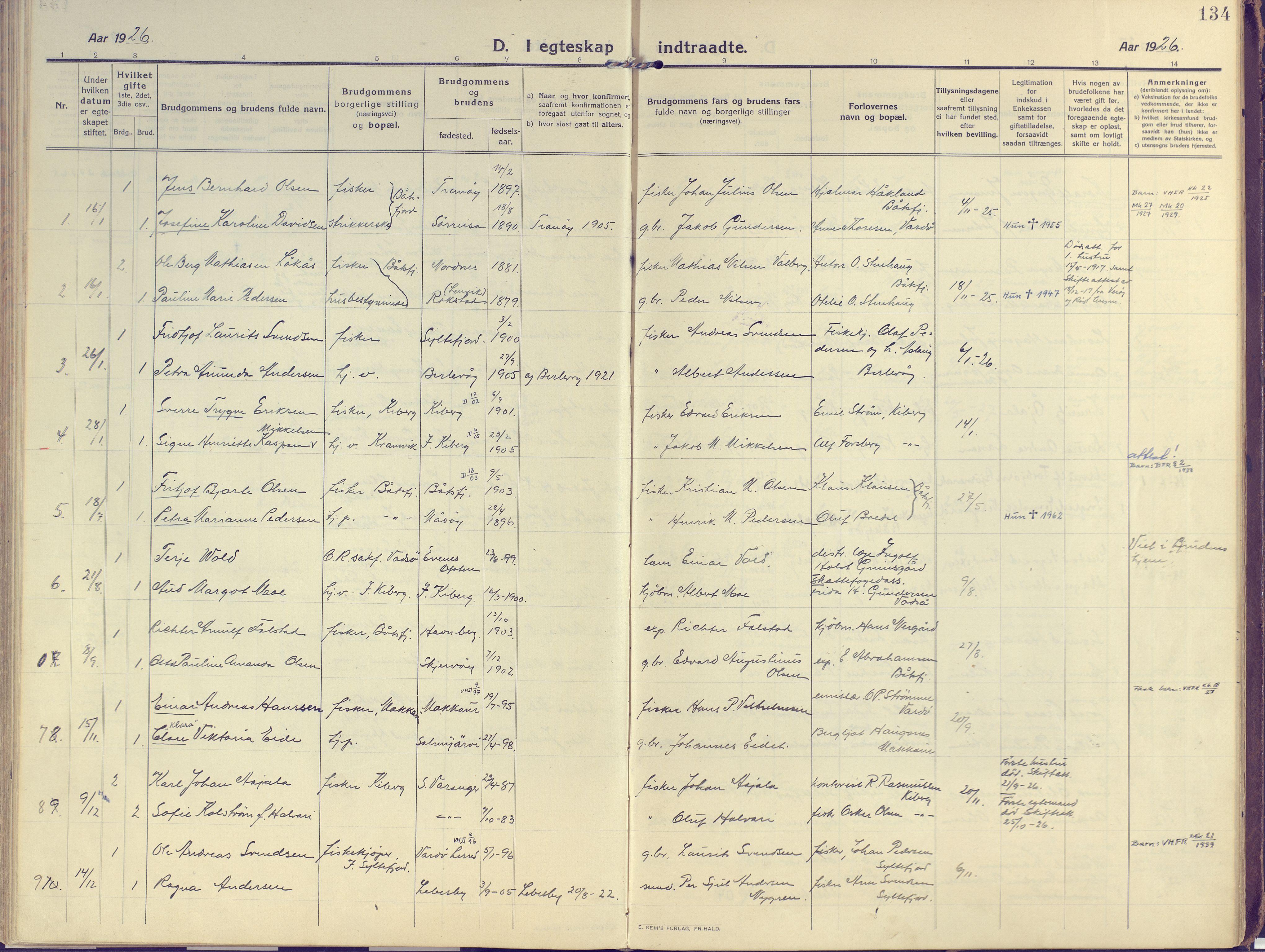 SATØ, Vardø sokneprestkontor, H/Ha/L0013kirke: Ministerialbok nr. 13, 1912-1928, s. 134