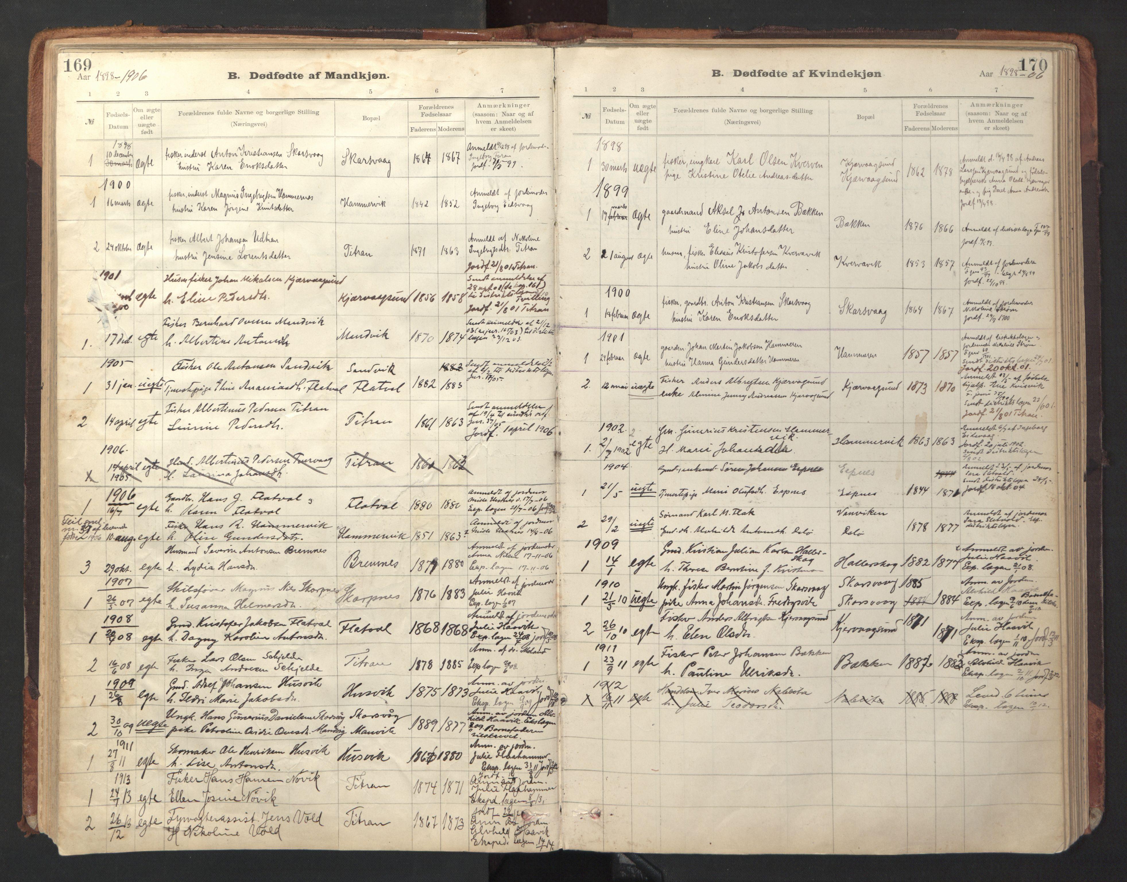 SAT, Ministerialprotokoller, klokkerbøker og fødselsregistre - Sør-Trøndelag, 641/L0596: Ministerialbok nr. 641A02, 1898-1915, s. 169-170